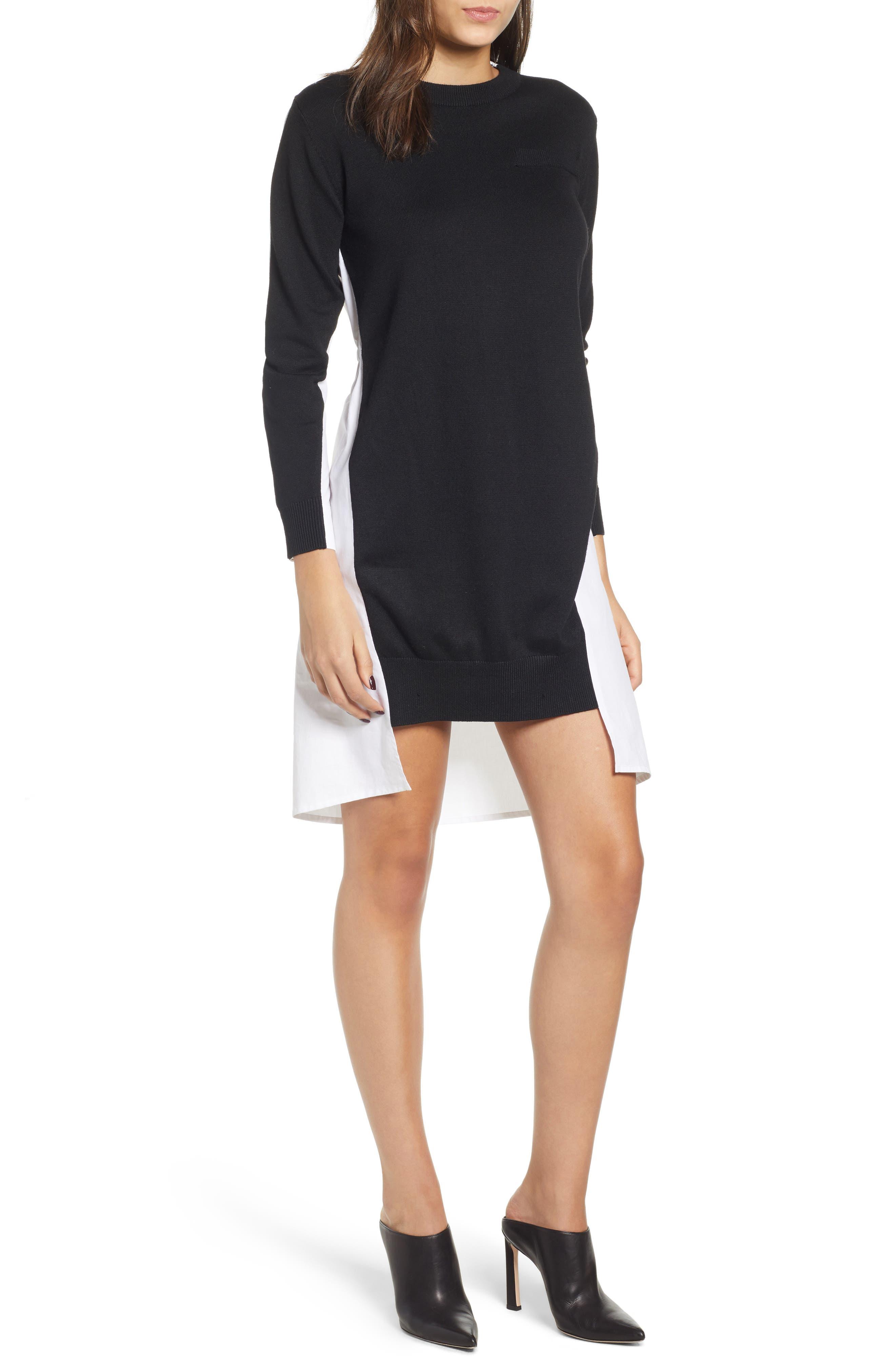Combo Sweater Dress in Black