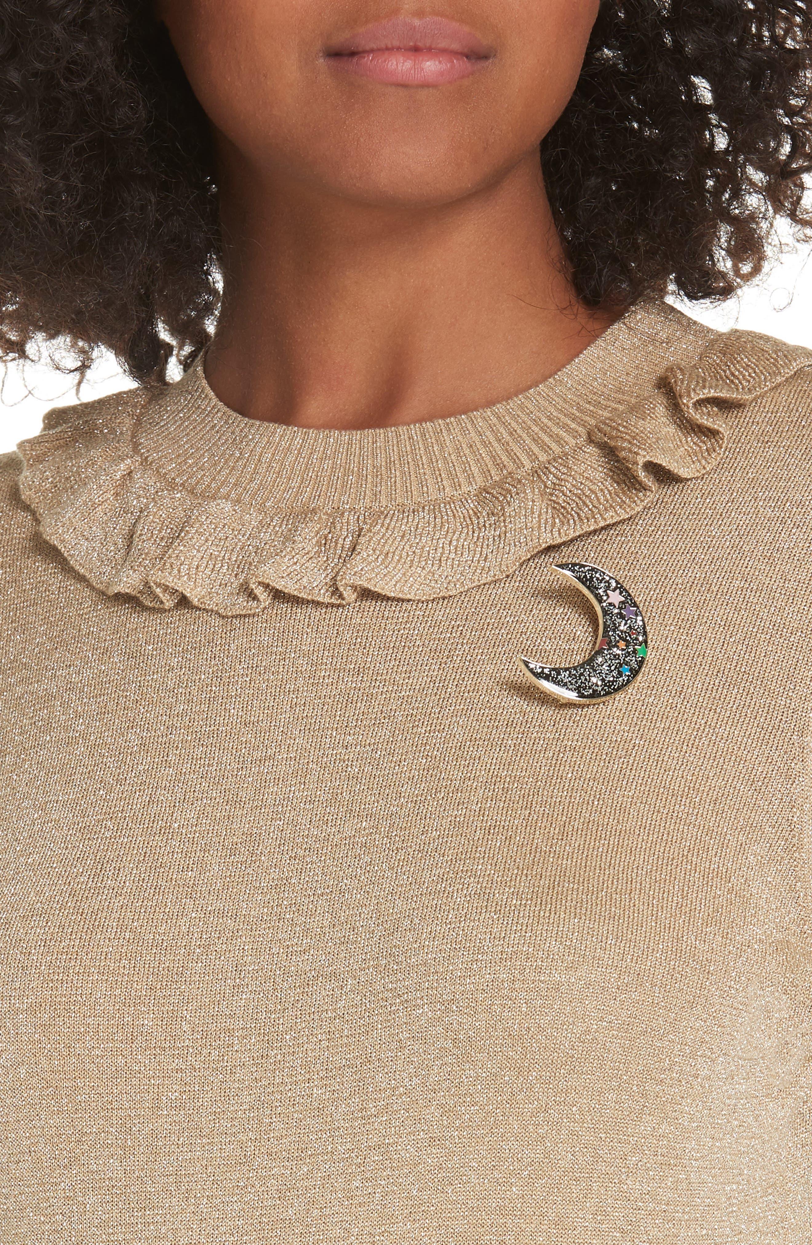 Colour by Numbers Hawen Metallic Knit Sweater,                             Alternate thumbnail 4, color,                             GOLD