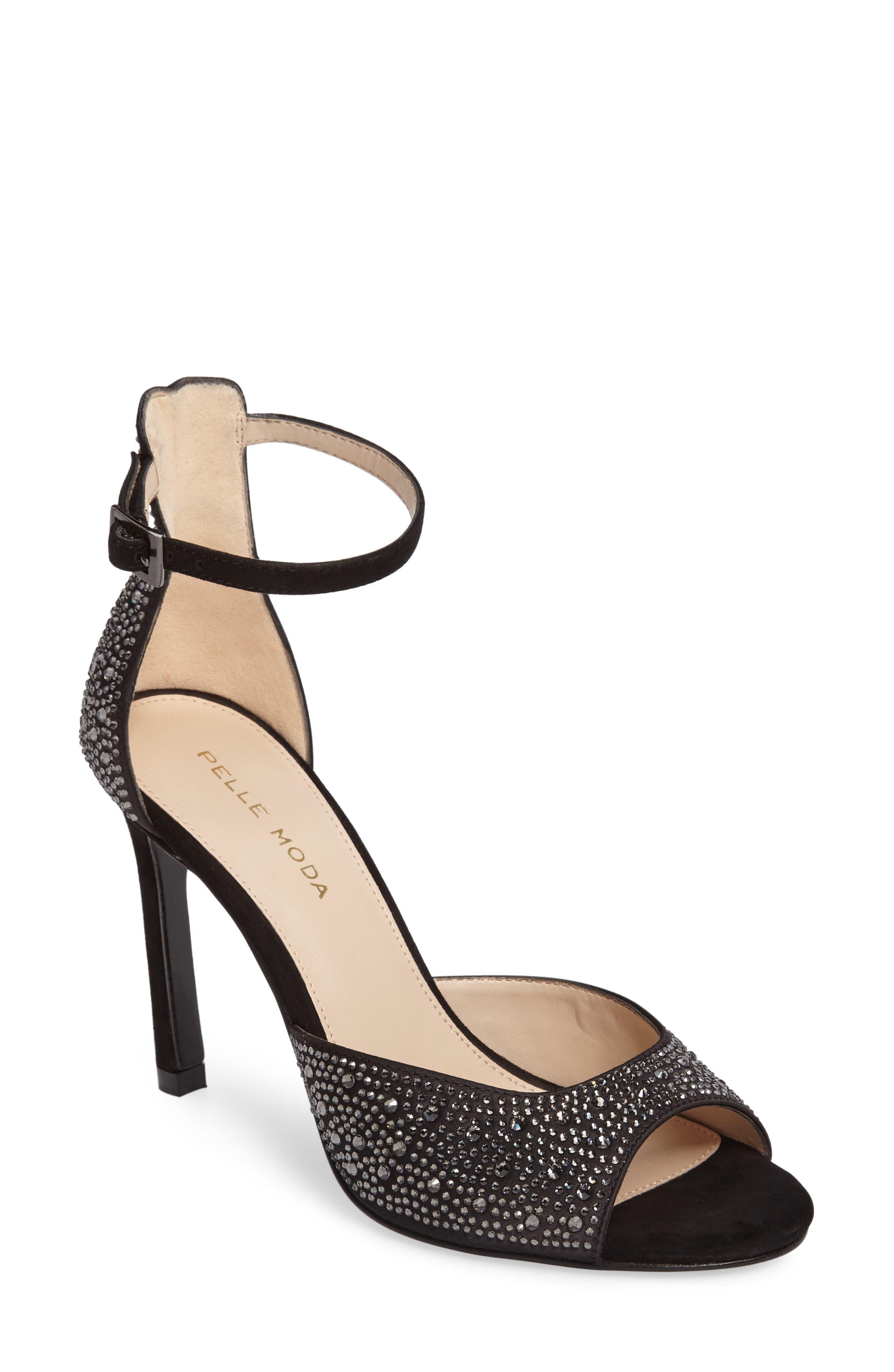 Crystal Embellished Ankle Strap Sandal,                             Main thumbnail 1, color,                             001