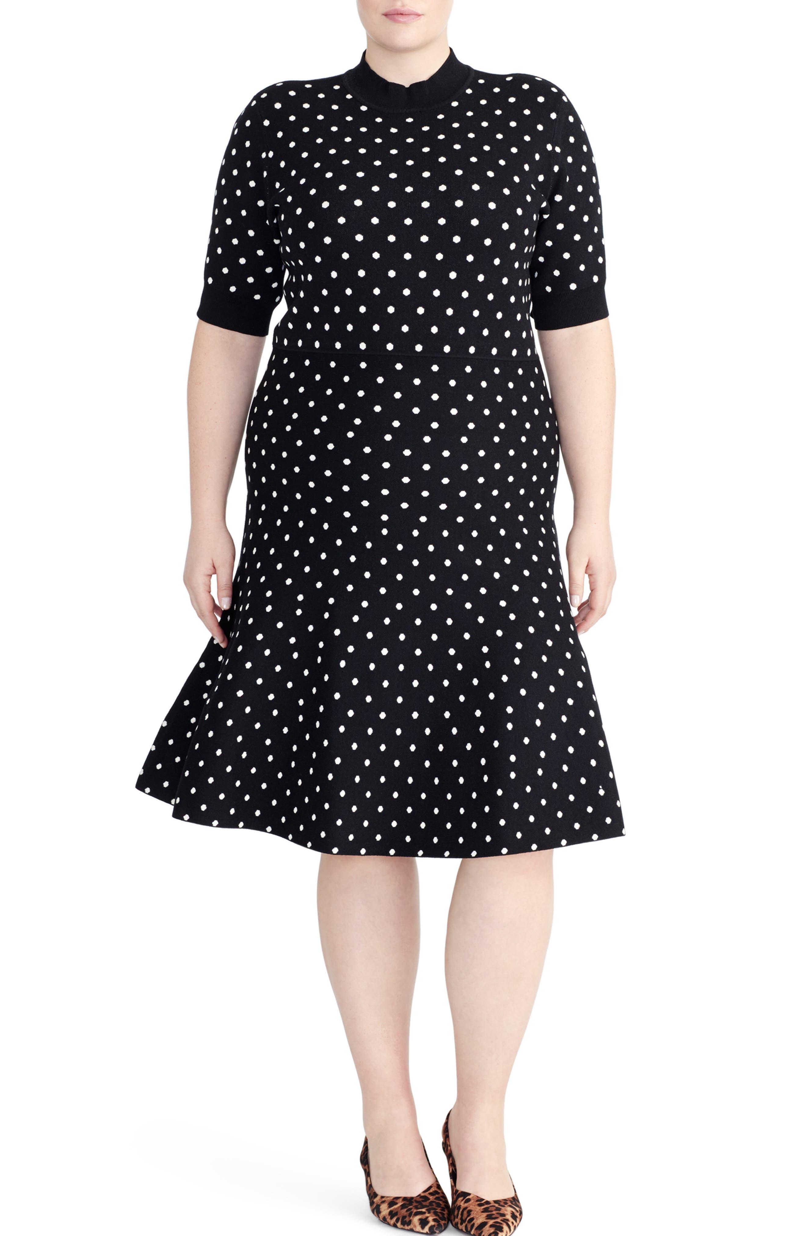 RACHEL ROY COLLECTION,                             Polka Dot Fit & Flare Dress,                             Main thumbnail 1, color,                             BLACK/ LIGHT BIEGE