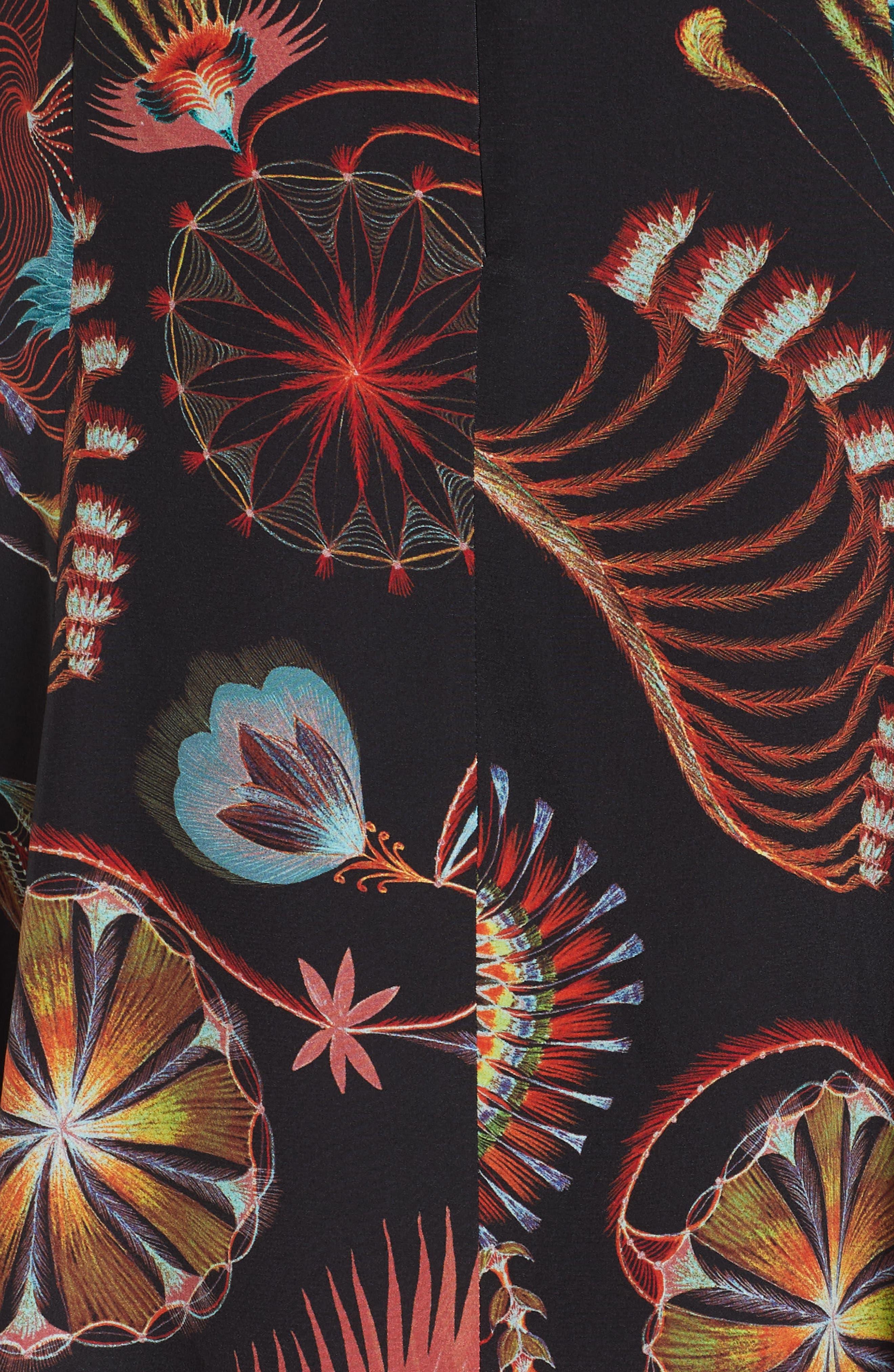 Tattoo Floral Print Silk Dress,                             Alternate thumbnail 5, color,                             BLACK