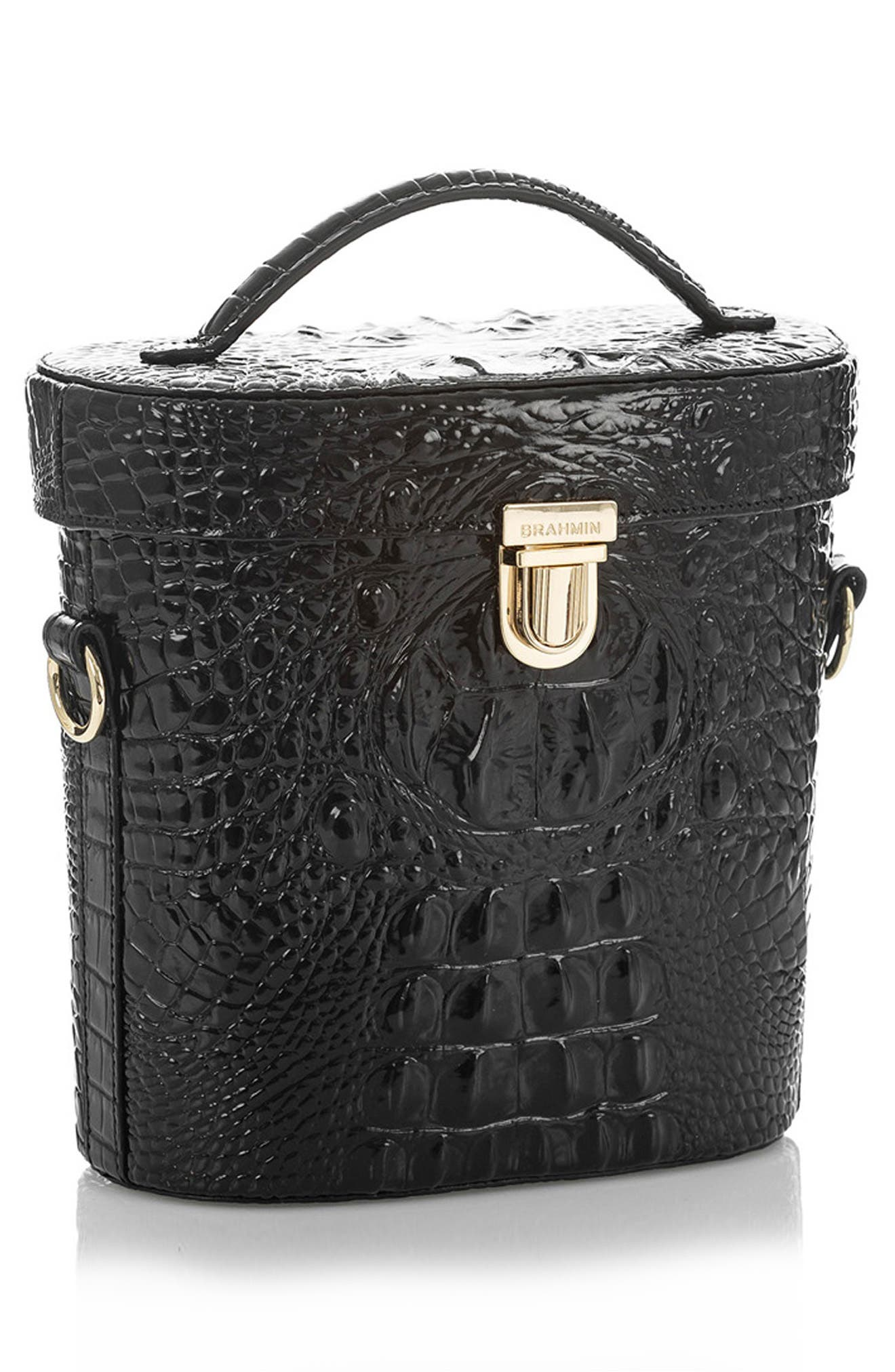 Pipp Croc Embossed Leather Top Handle Bag,                             Alternate thumbnail 4, color,                             BLACK MEMBOURNE