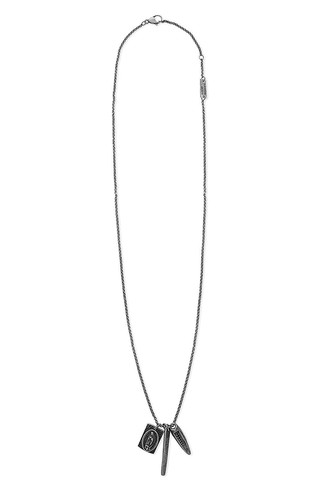 Triple Pendant Necklace,                         Main,                         color,