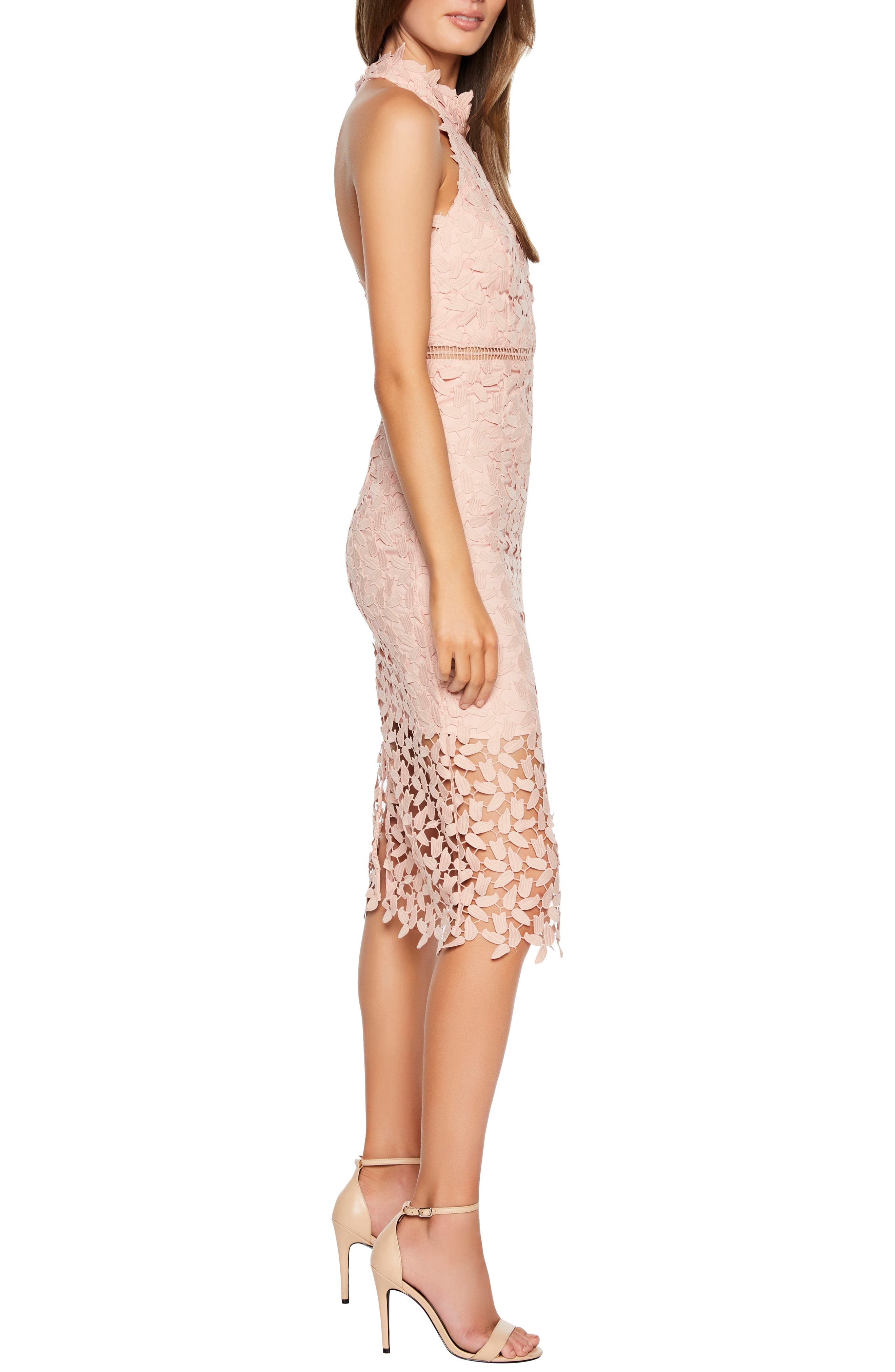 Gemma Halter Lace Sheath Dress,                             Alternate thumbnail 3, color,                             LATTE PINK