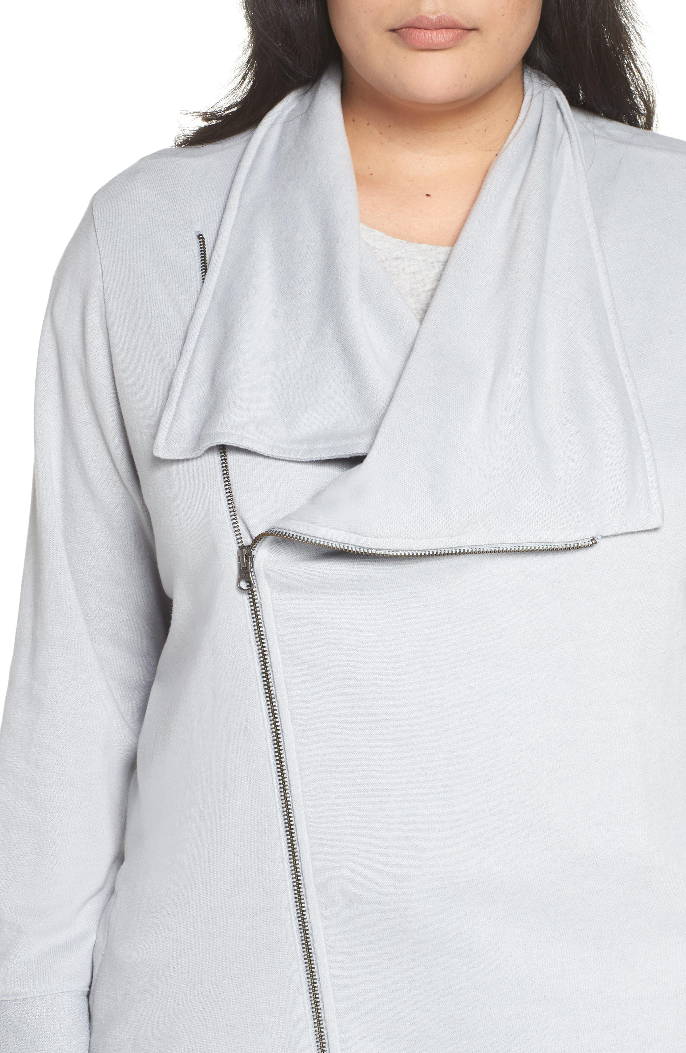 Asymmetrical Zip Long Cardigan,                             Alternate thumbnail 4, color,                             GREY