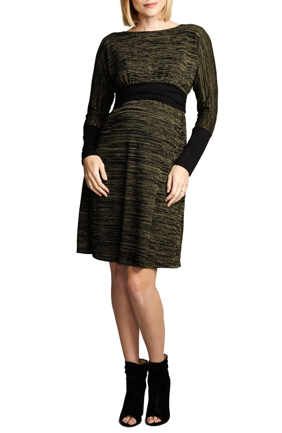 MATERNAL AMERICA,                             Empire WaistNursing Dress,                             Main thumbnail 1, color,                             OLIVE SPACE DYE