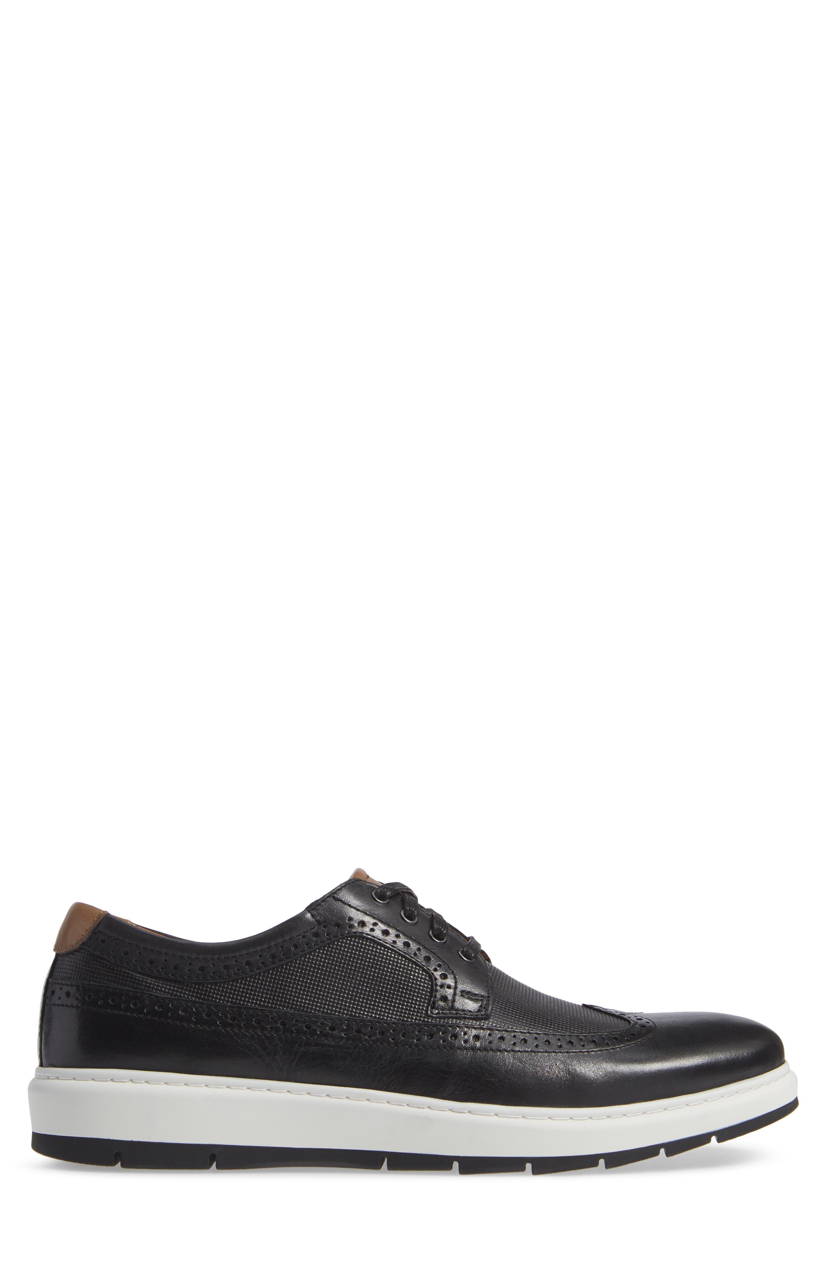 Elliston Wingtip Sneaker,                             Alternate thumbnail 3, color,                             BLACK LEATHER