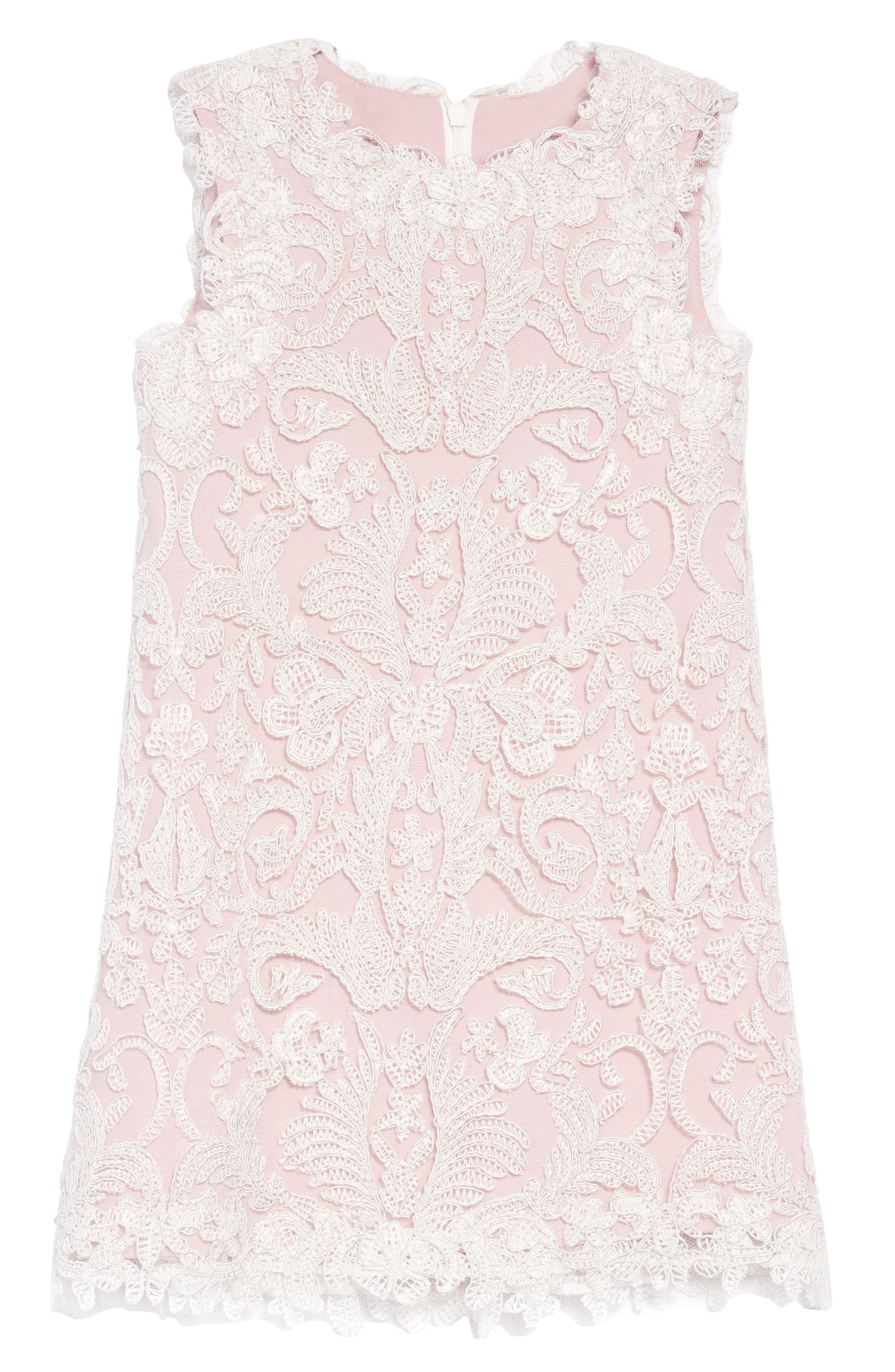 Embroidered Sheath Dress, Main, color, IVORY/ PETAL
