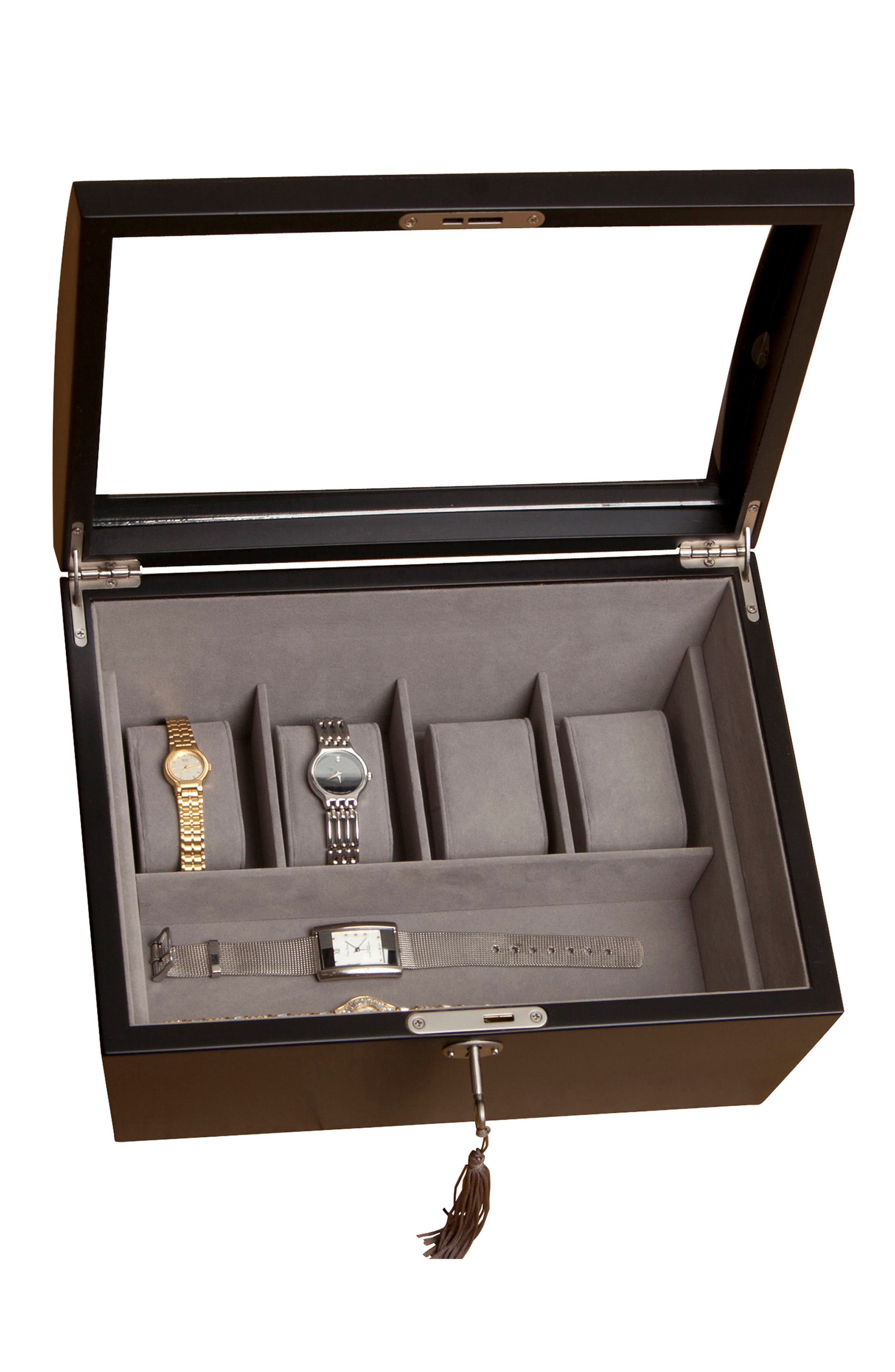 Royce Locking Watch & Jewelry Box,                             Alternate thumbnail 3, color,                             BLACK