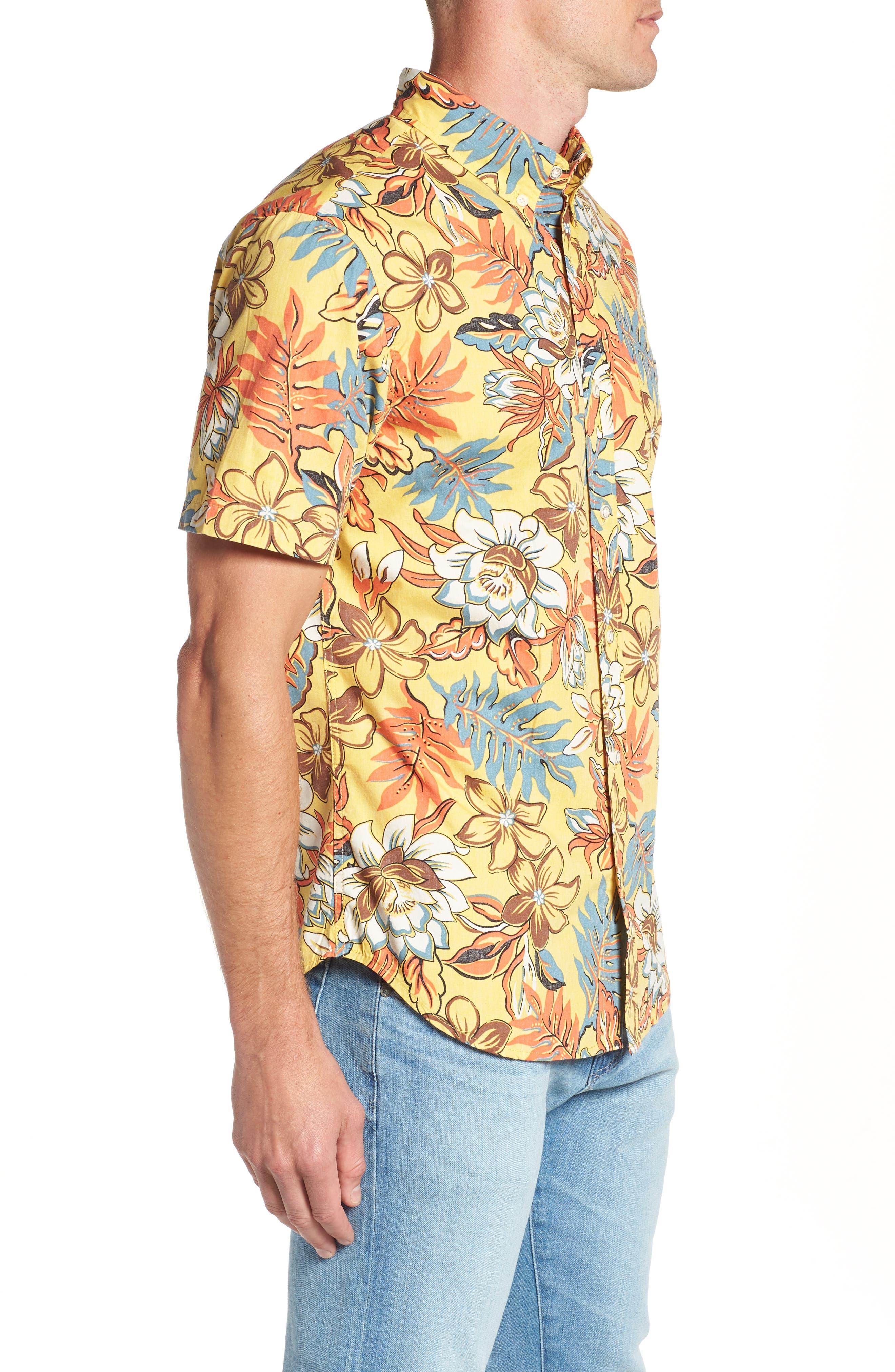 Vintage Hawaiian Regular Fit Floral Sport Shirt,                             Alternate thumbnail 3, color,                             700