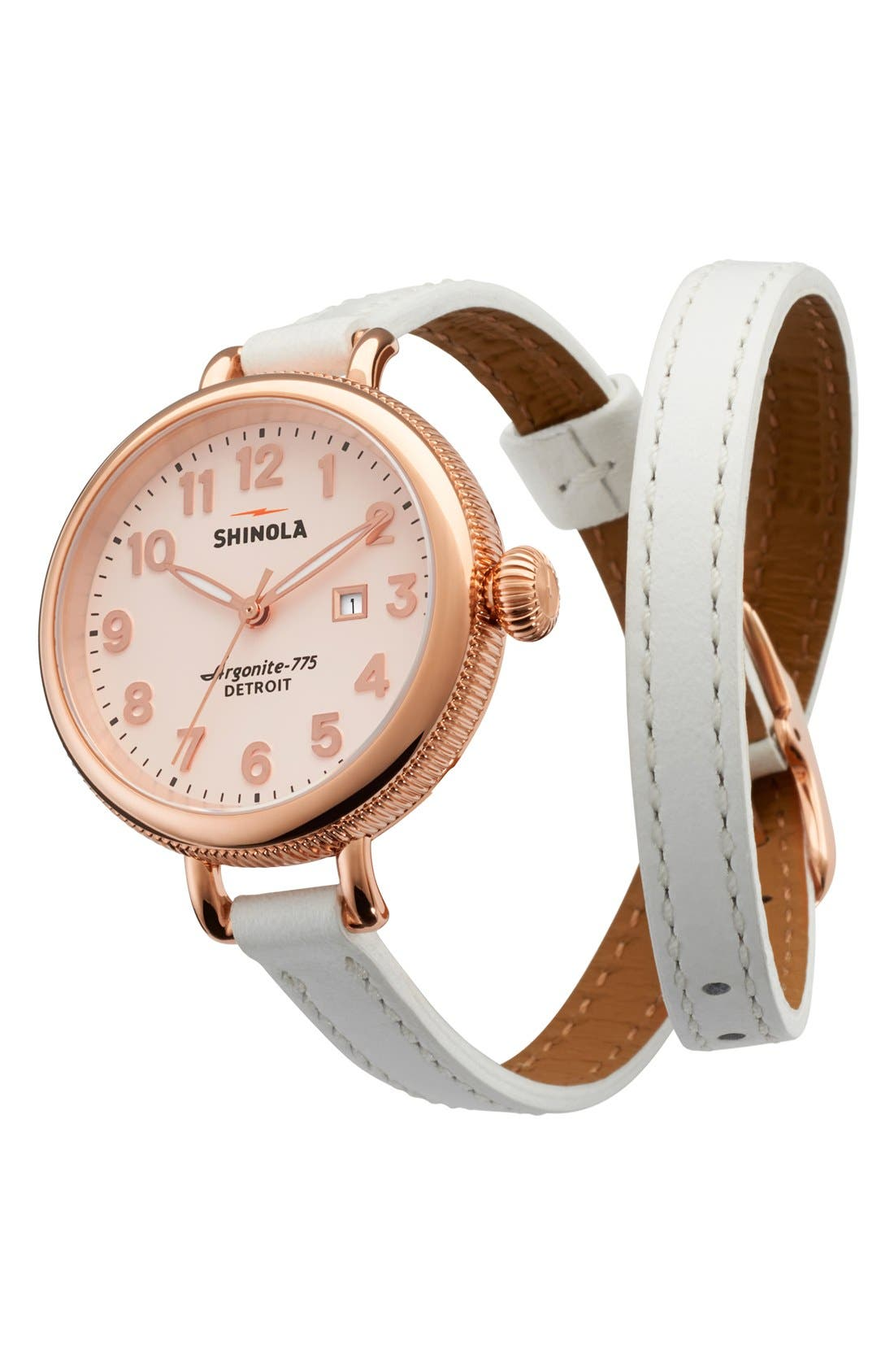 'The Birdy' Double Wrap Leather Strap Watch, 34mm,                             Alternate thumbnail 38, color,