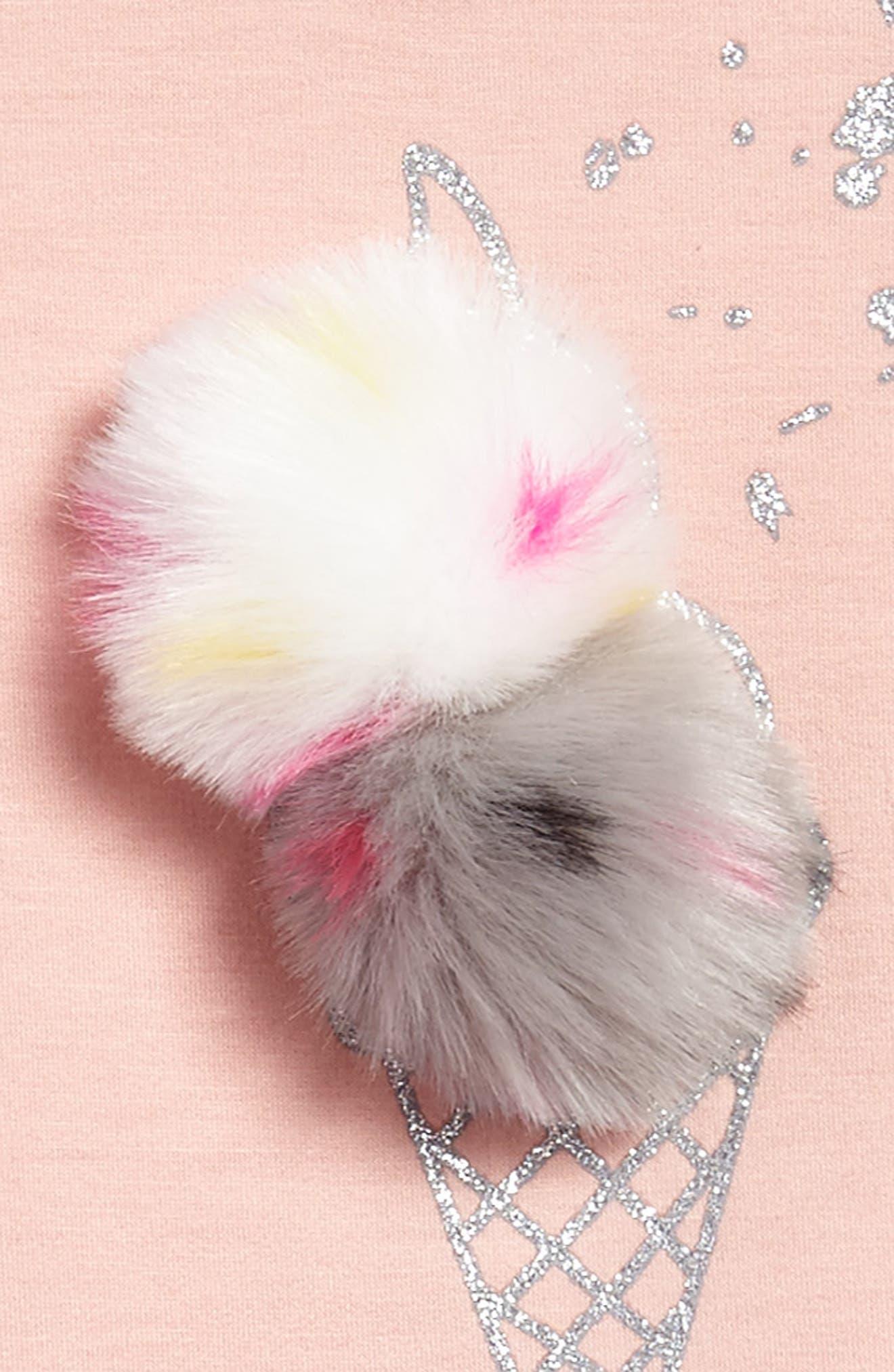 Faux Fur Pompom Embellished Dress,                             Alternate thumbnail 3, color,                             680