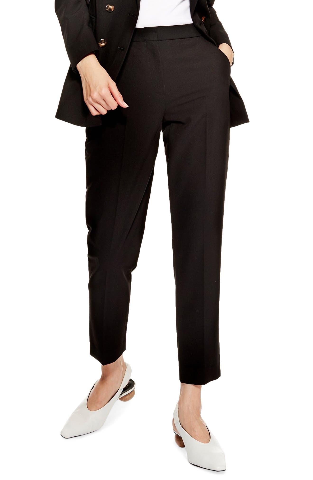 TOPSHOP Kleo Cigarette Trousers, Main, color, BLACK