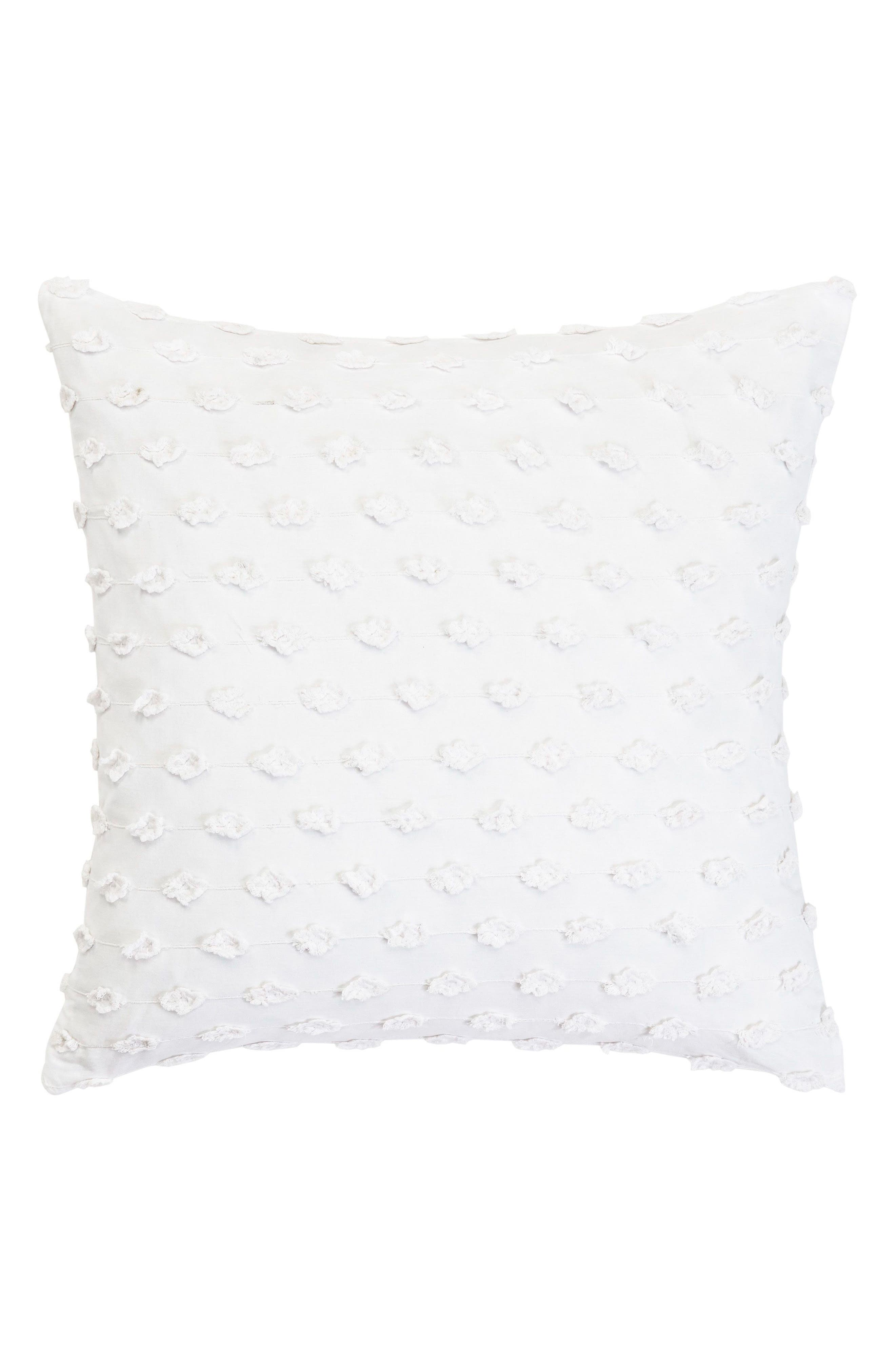 Fringe Accent Pillow,                         Main,                         color, WHITE
