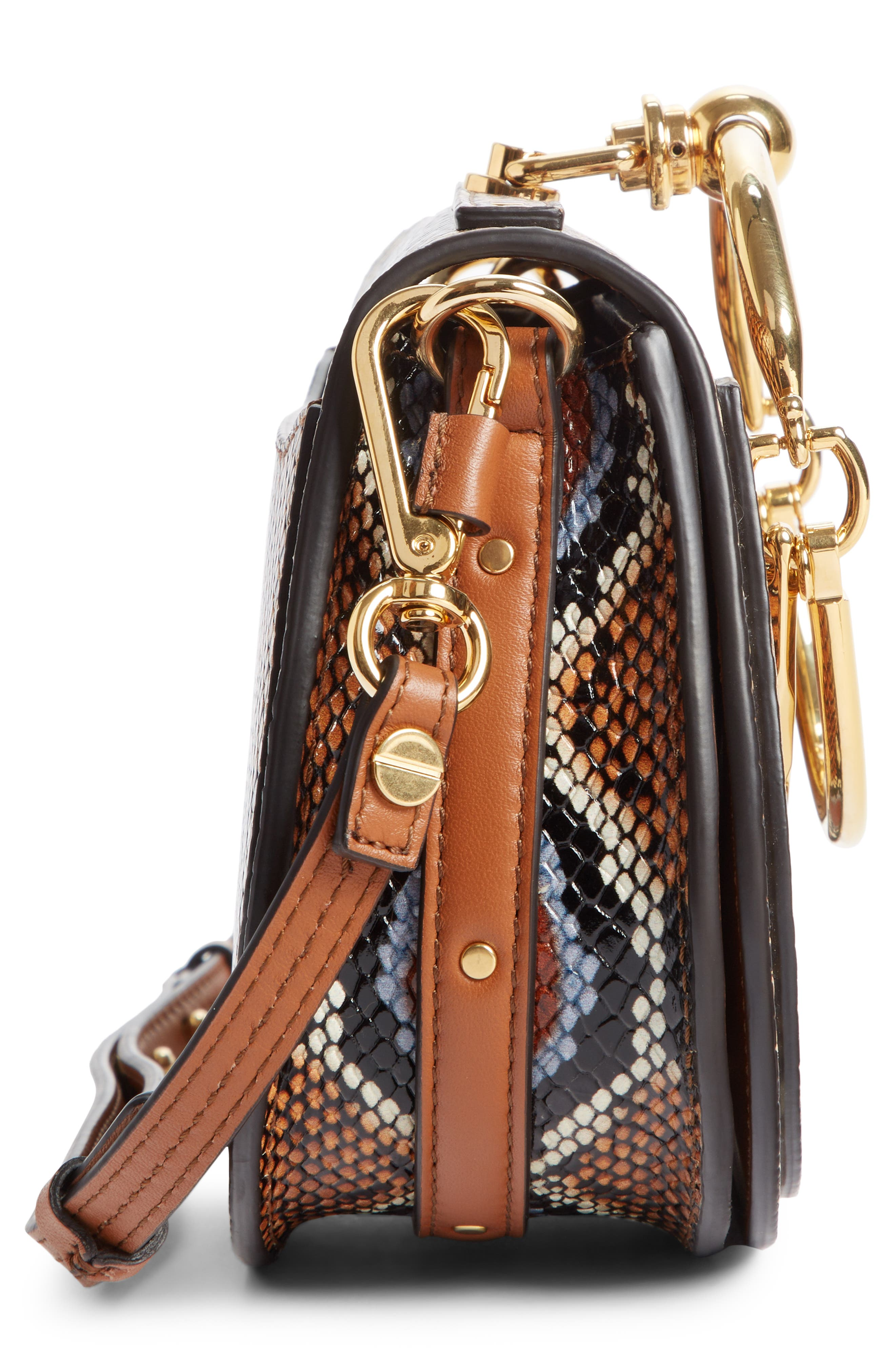 Small Nile Python Embossed Leather Crossbody Bag,                             Alternate thumbnail 5, color,                             210