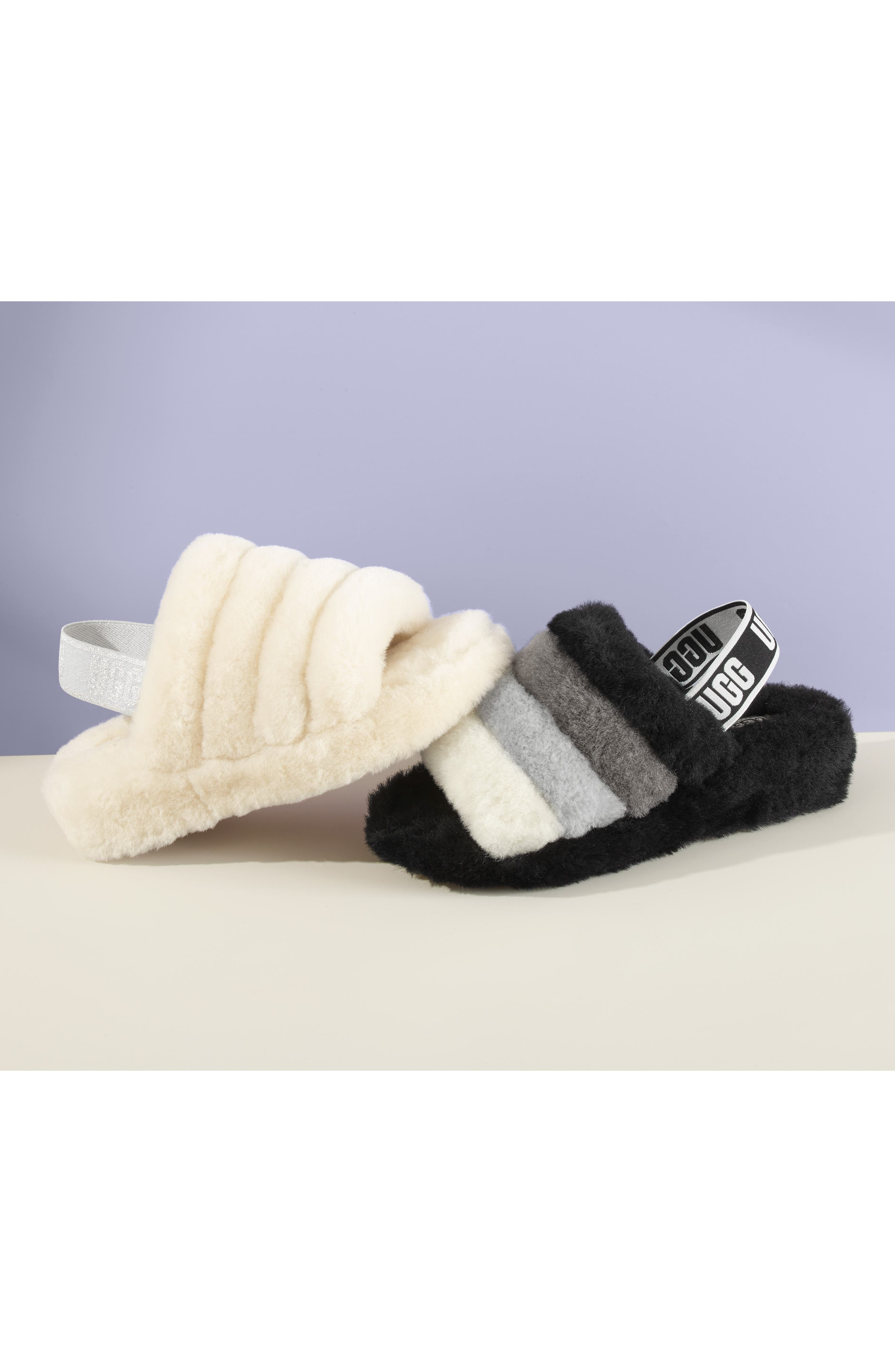 Fluff Yeah Genuine Shearling Slipper,                             Alternate thumbnail 7, color,                             CHARCOAL