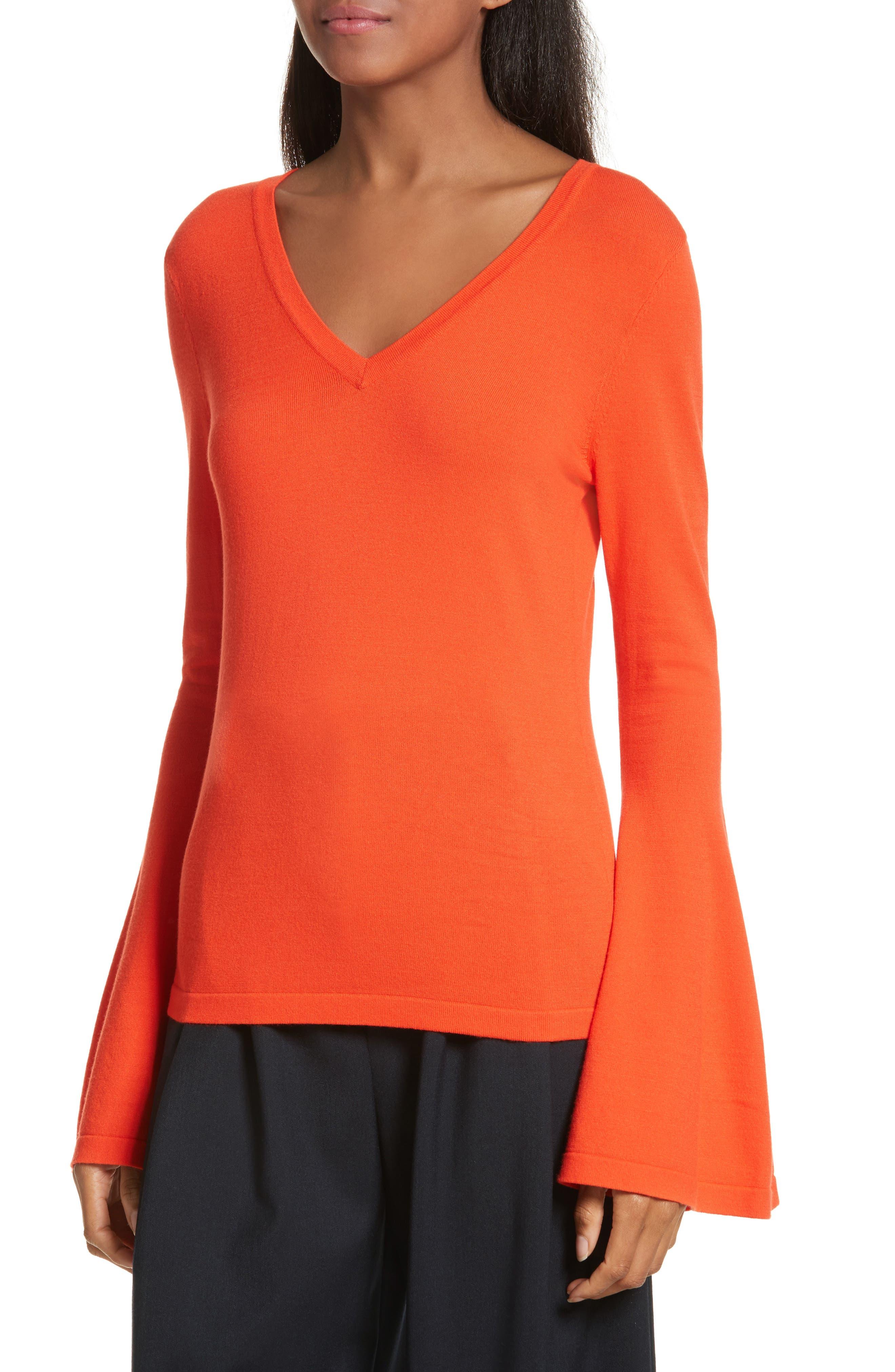 Bell Sleeve V-Neck Sweater,                             Alternate thumbnail 16, color,