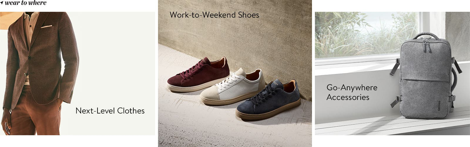 Business casual clothes, shoes and accessories for men.
