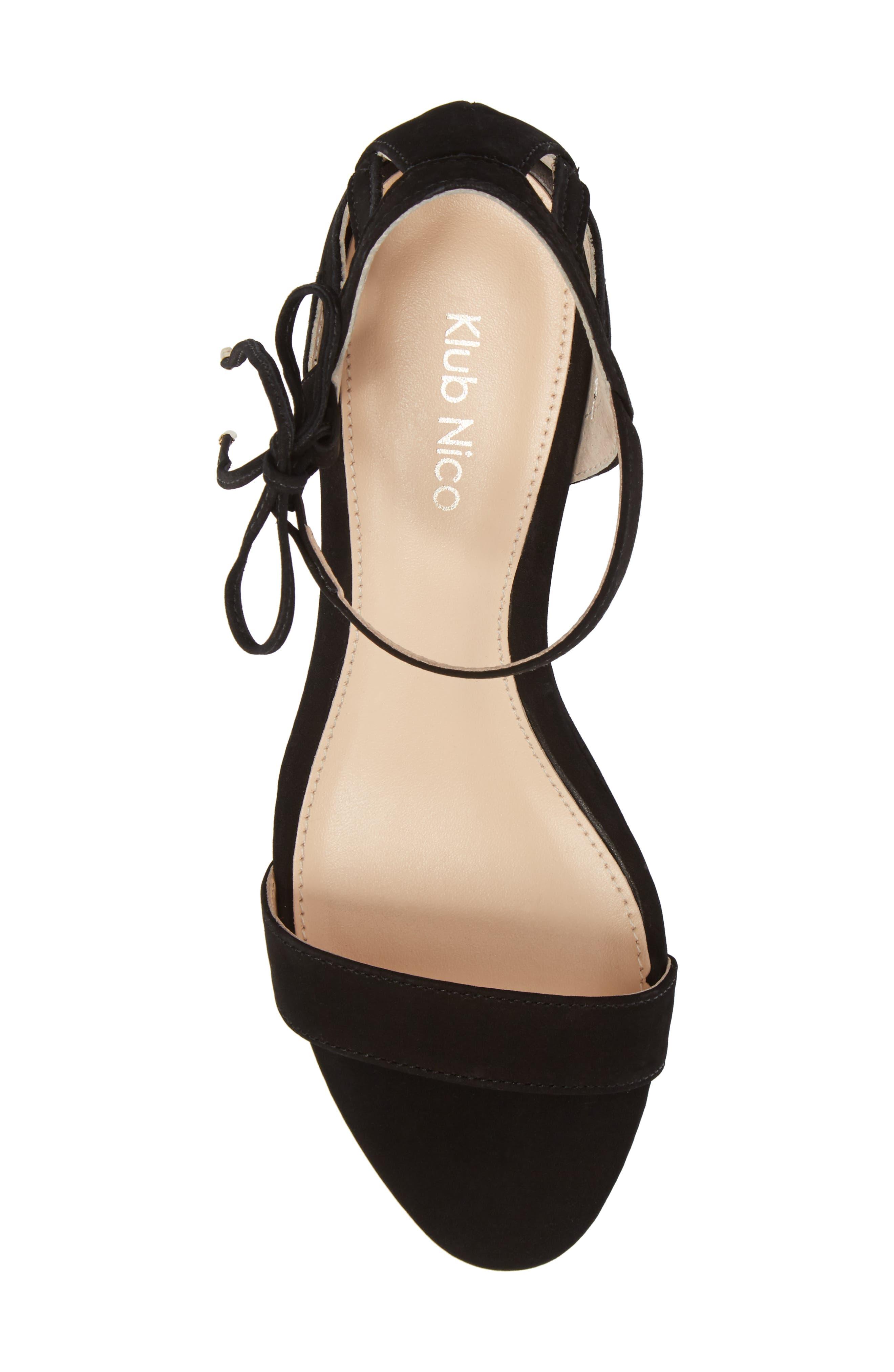 Kaeli Wedge Sandal,                             Alternate thumbnail 5, color,                             BLACK LEATHER
