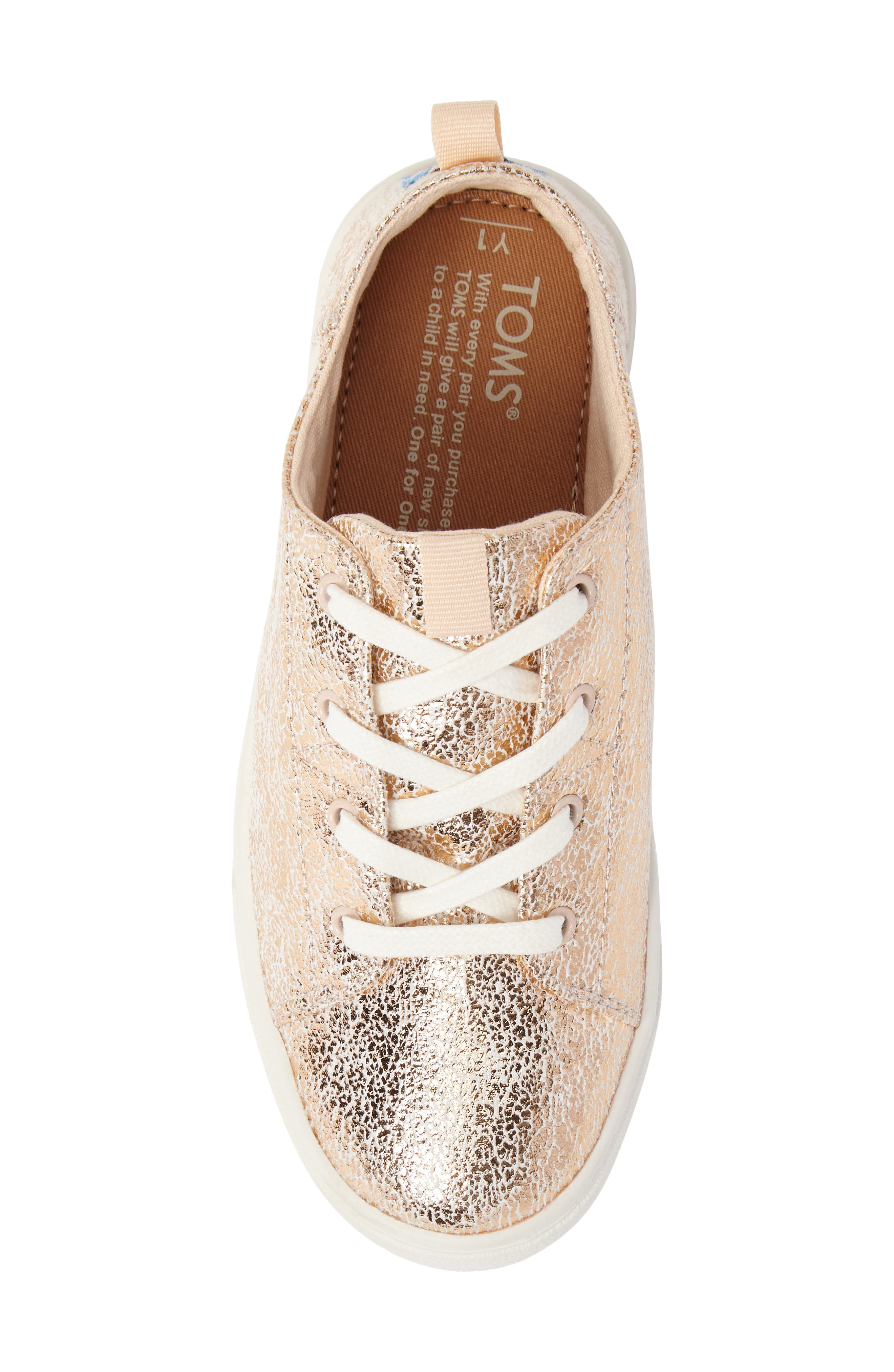 Lenny Metallic Sneaker,                             Alternate thumbnail 5, color,                             ROSE GOLD CRACKLE FOIL