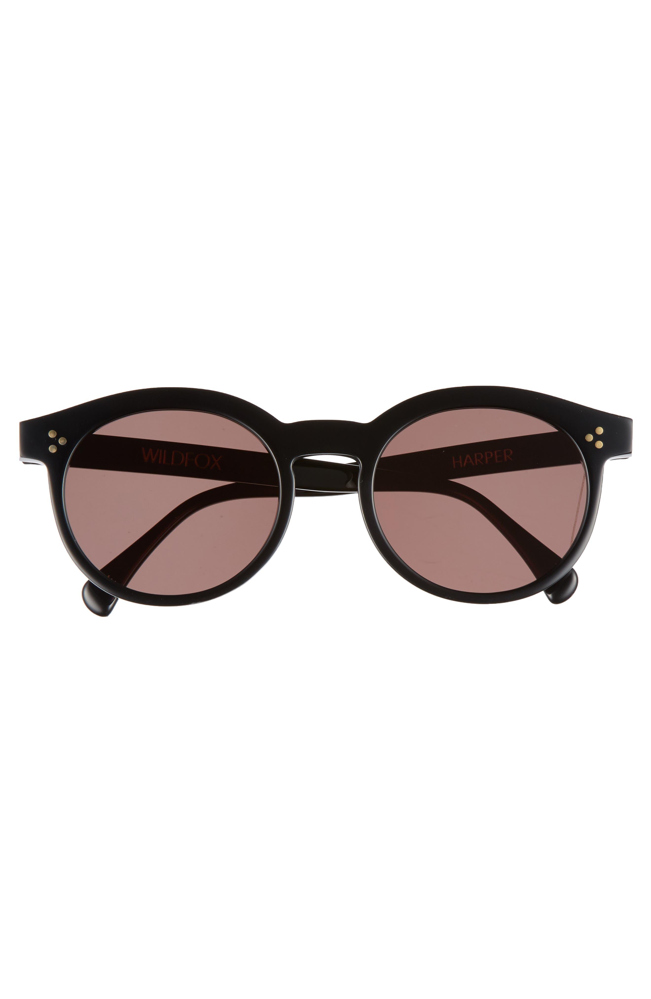 Harper Zero 53mm Round Keyhole Sunglasses,                             Alternate thumbnail 3, color,                             001