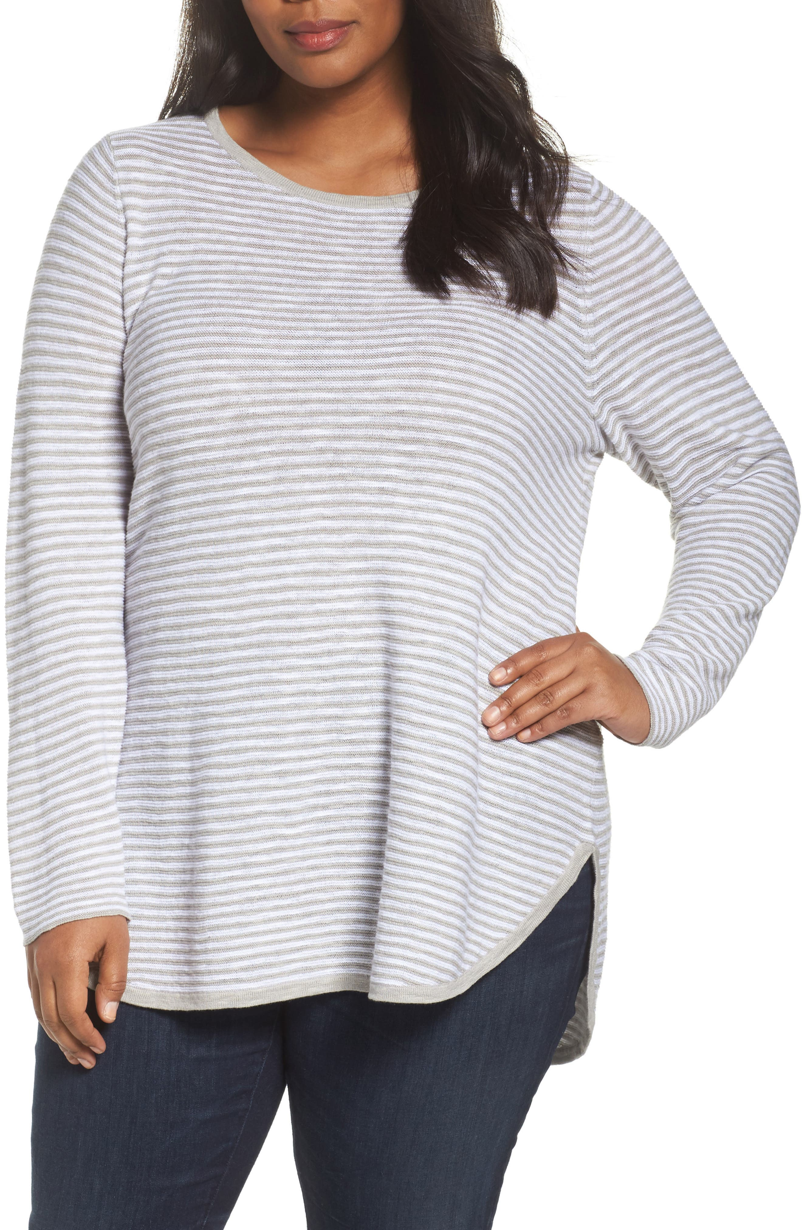 Stripe Organic Linen & Cotton Sweater,                             Main thumbnail 1, color,