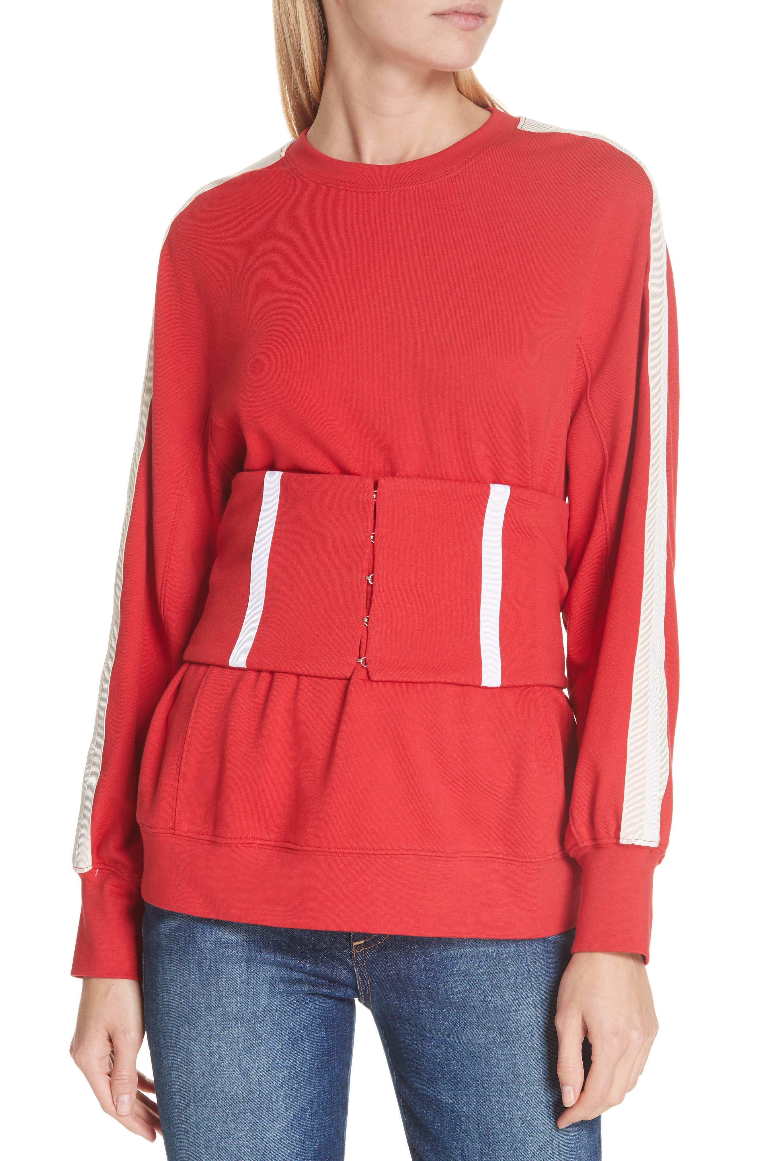 Jonathan Simkhai Corset Sweatshirt, Red