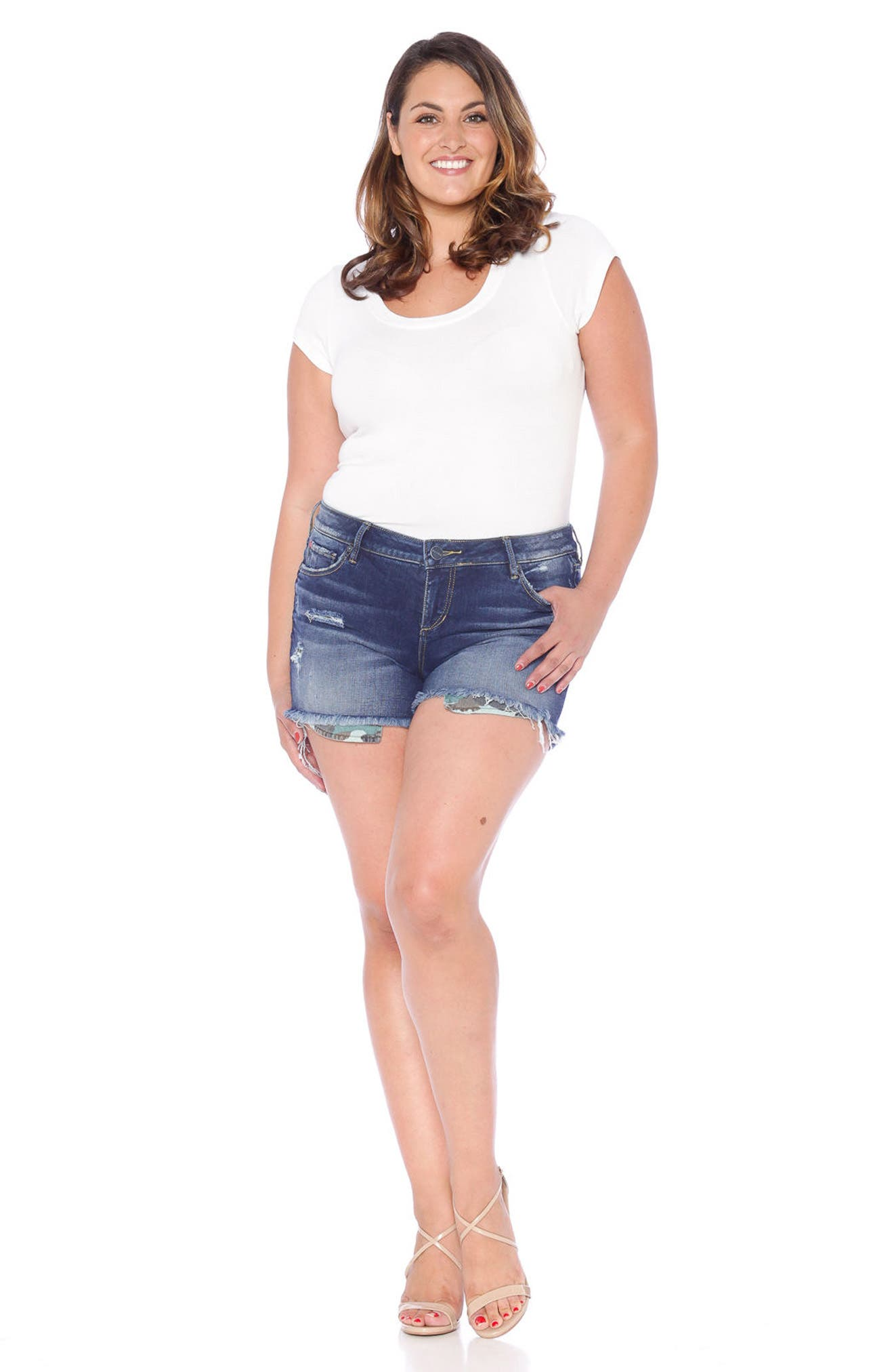 Exposed Pockets Cutoff Denim Shorts,                             Alternate thumbnail 4, color,                             394
