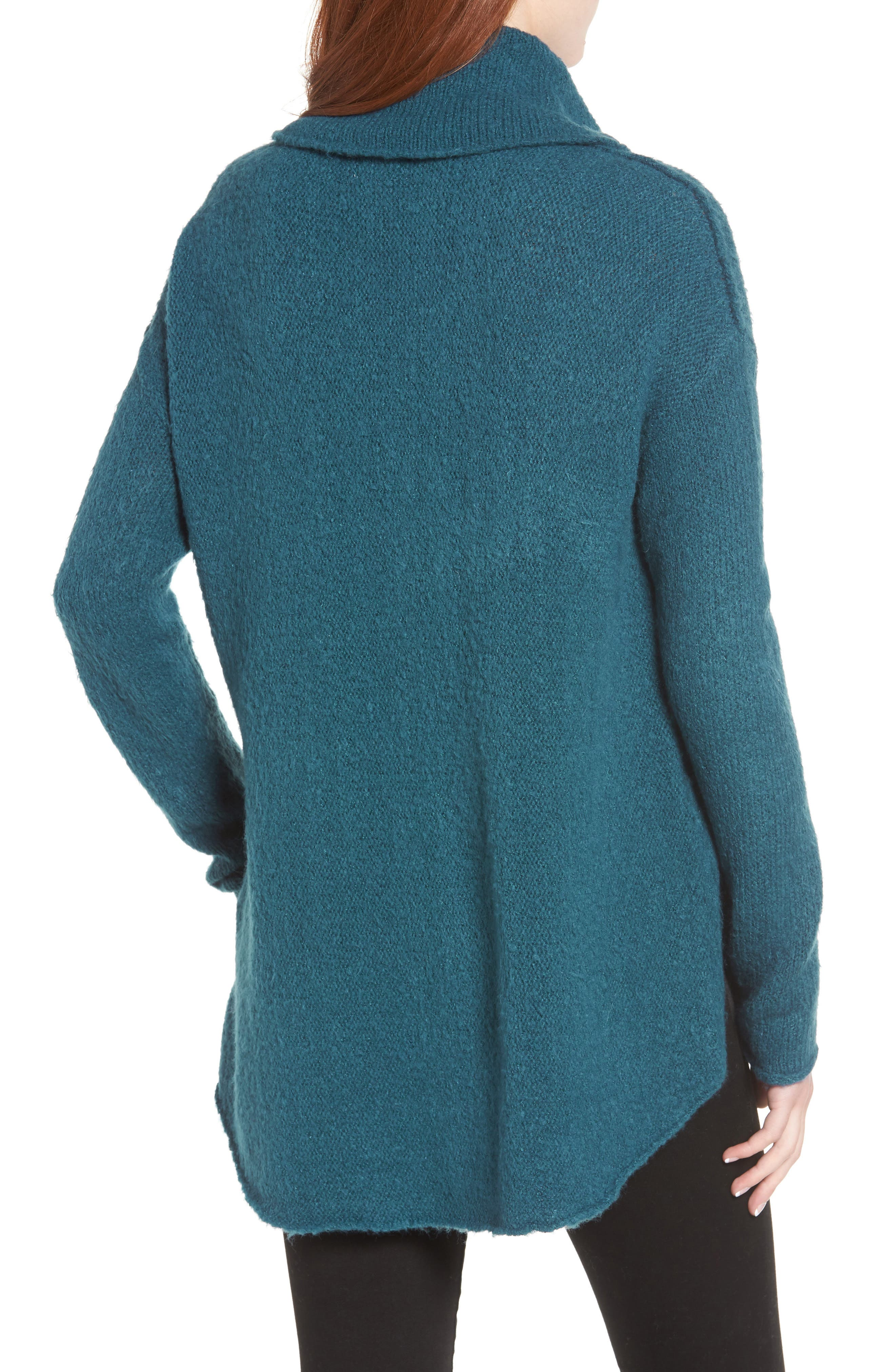 Tunic Sweater,                             Alternate thumbnail 2, color,                             TEAL CORAL