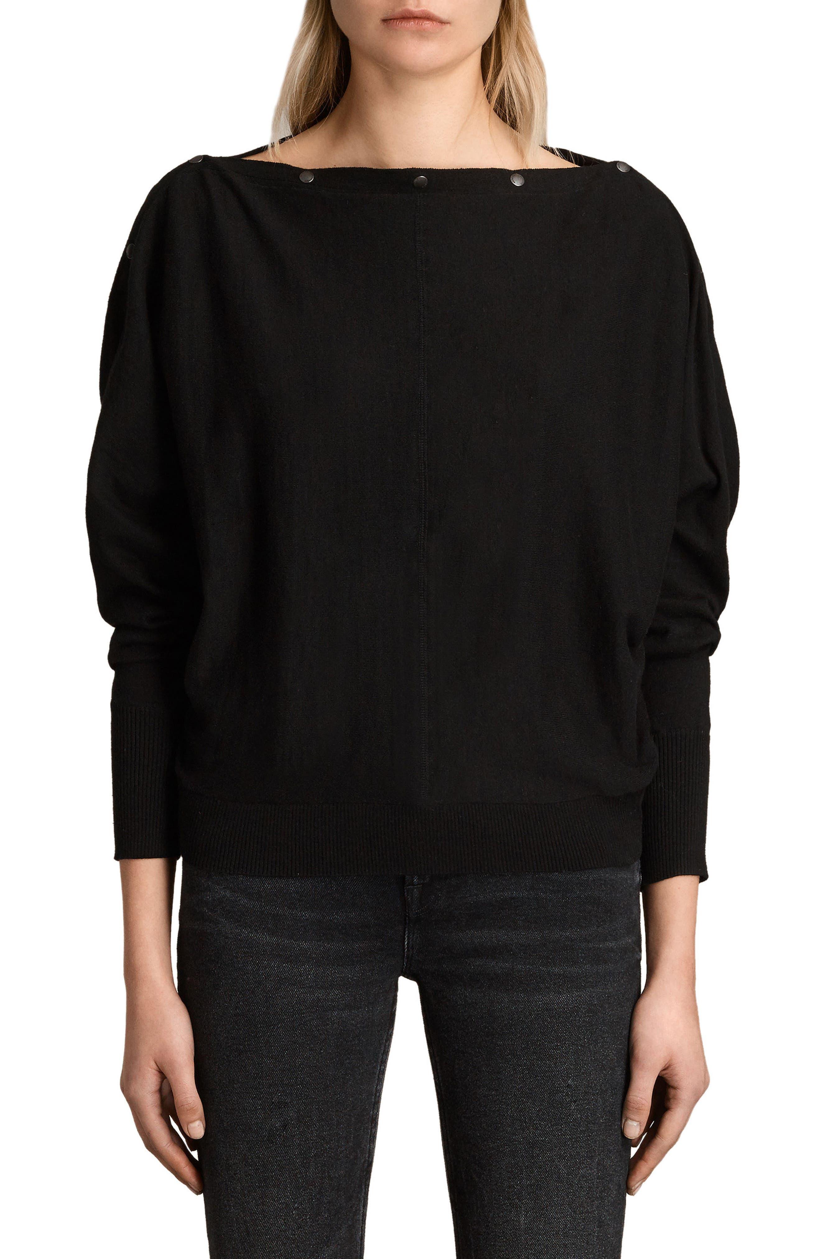 ALLSAINTS Elle Snap-Detail Sweater in Black