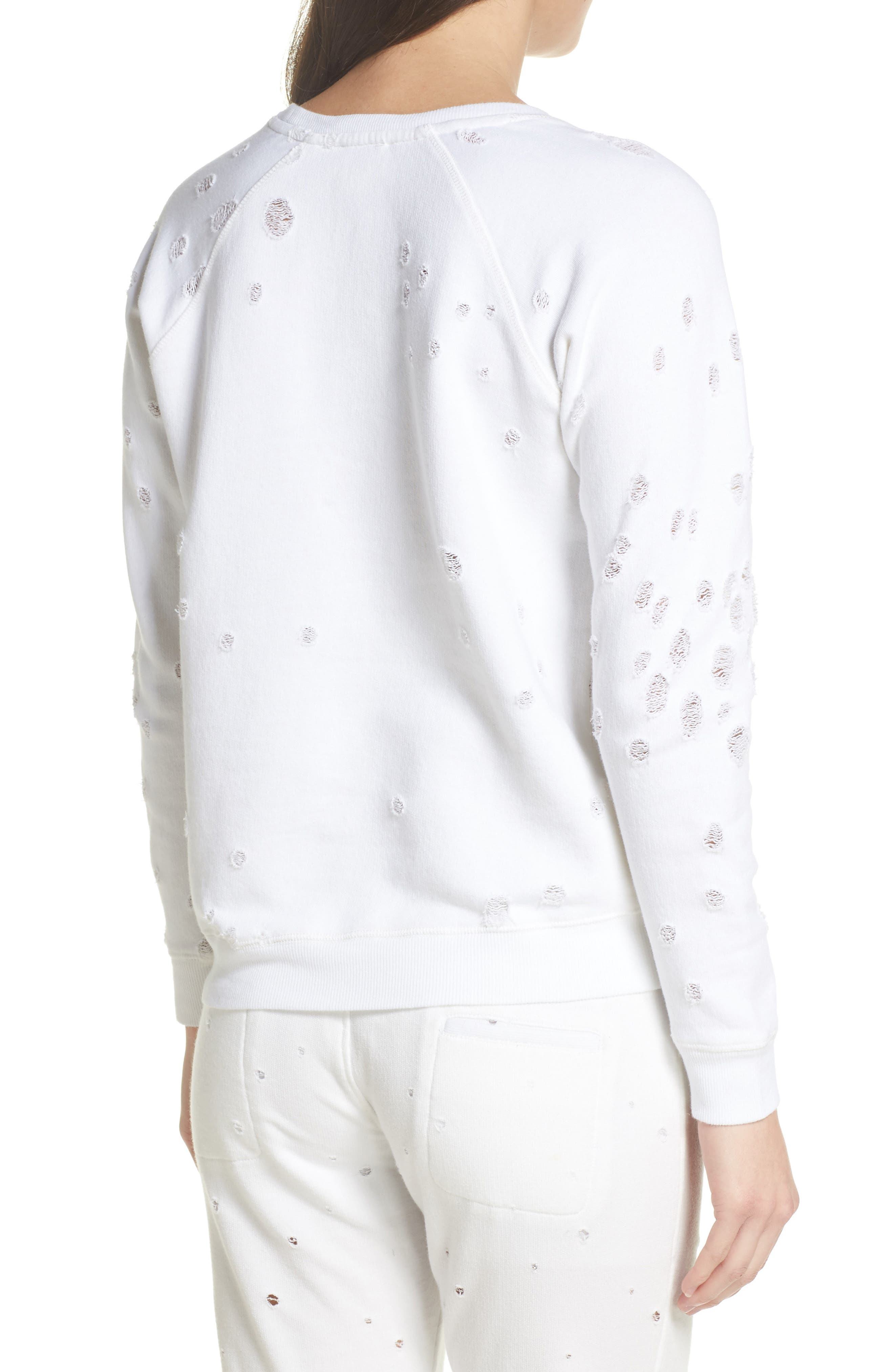 Distressed Lounge Sweatshirt,                             Alternate thumbnail 2, color,                             WHITE