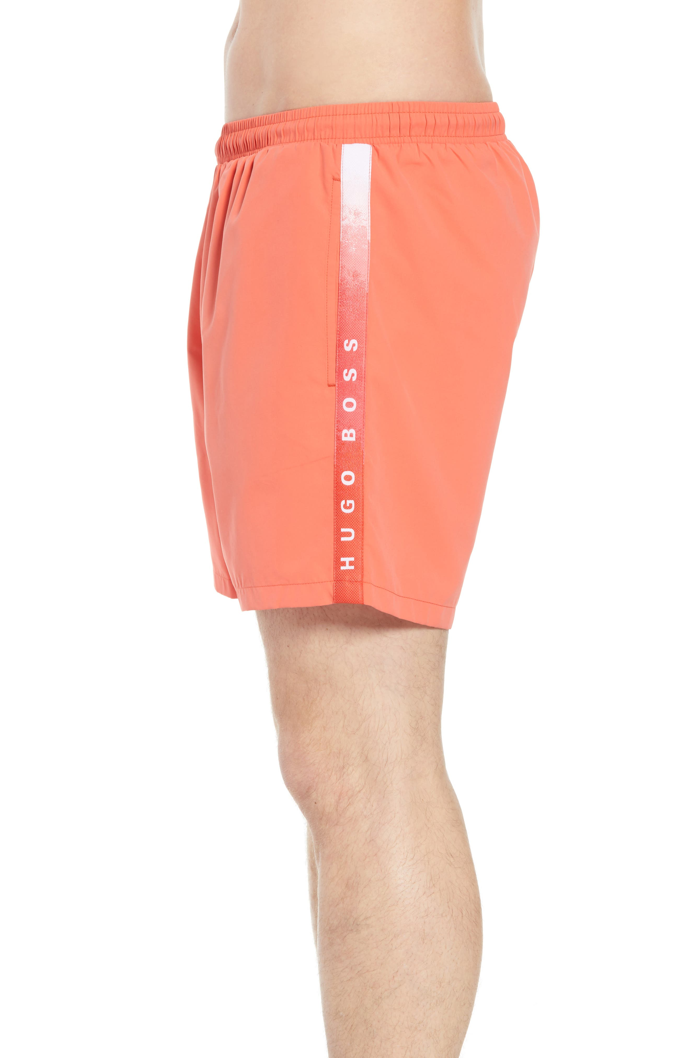 Seabream Regular Fit Stripe Swim Trunks,                             Alternate thumbnail 4, color,                             633