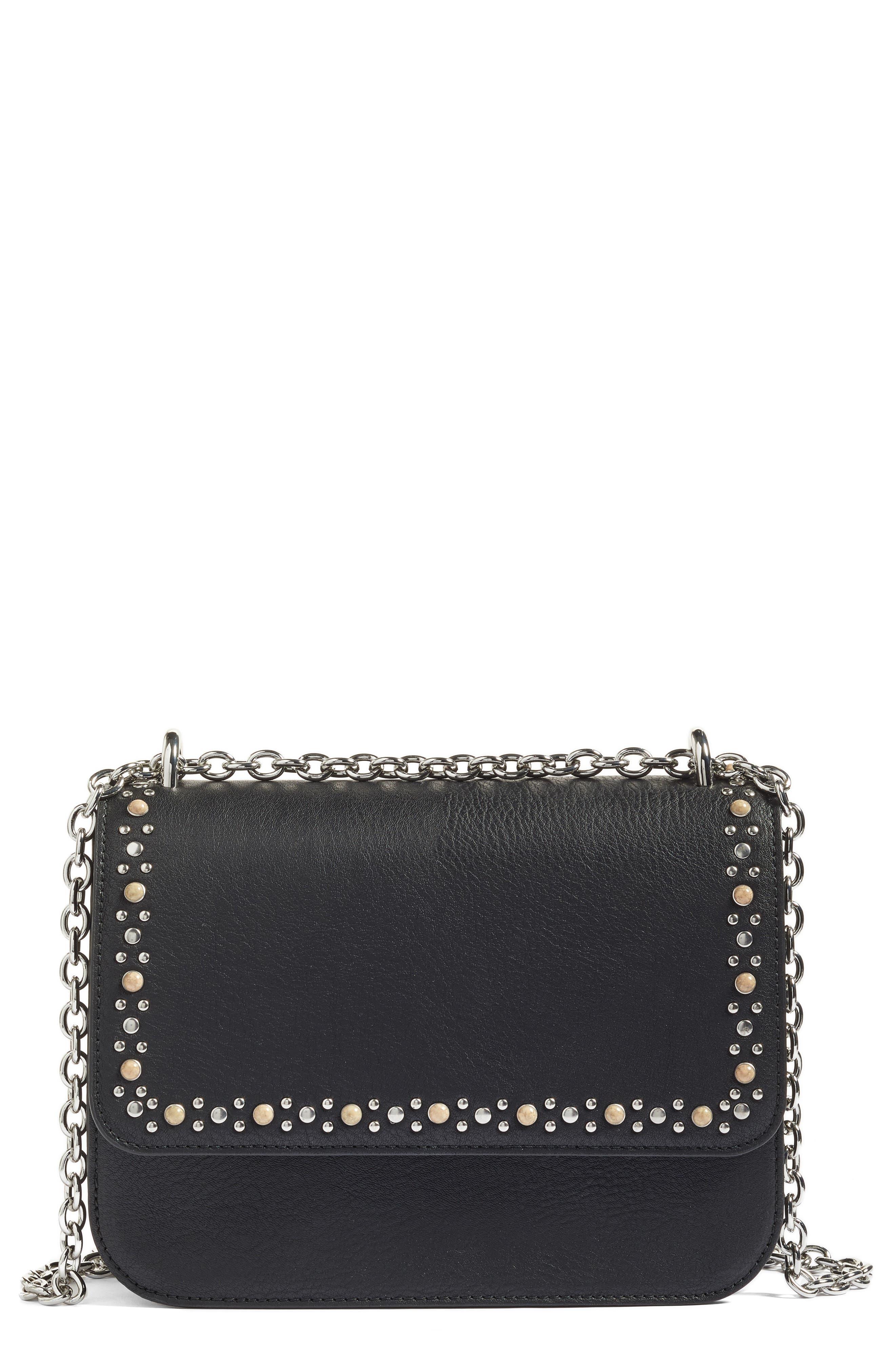 Dahlia Stone Faux Leather Crossbody Bag,                             Main thumbnail 1, color,                             001