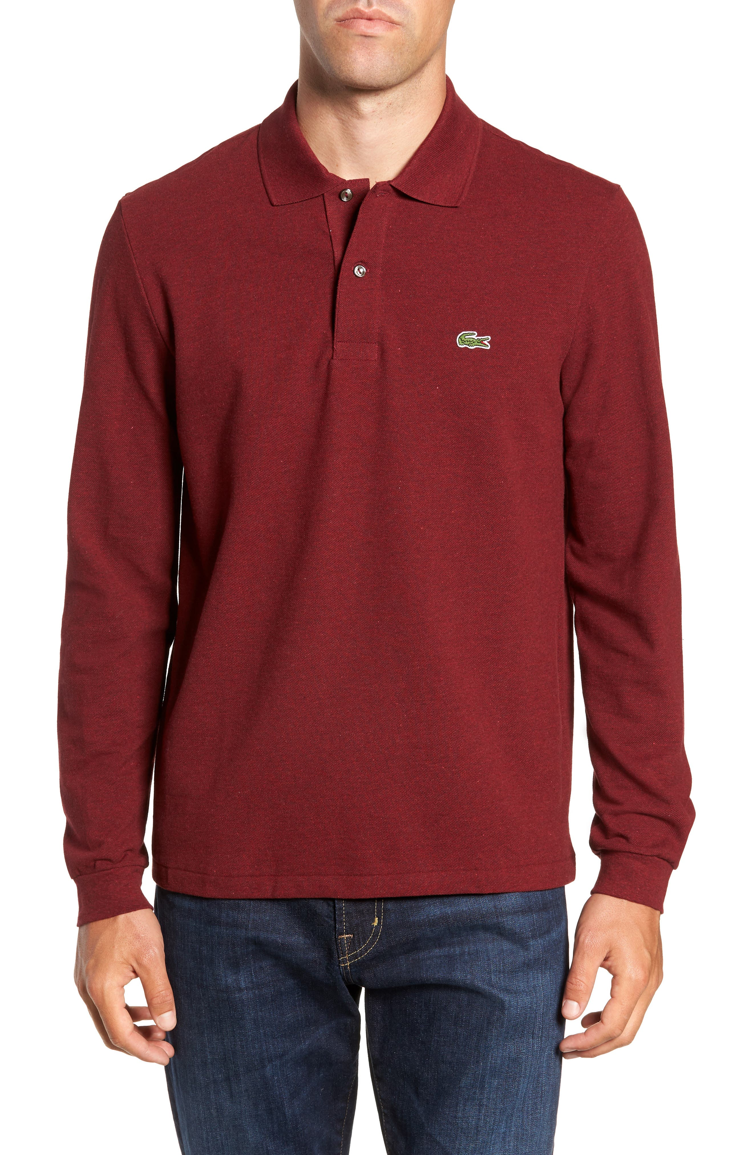 LACOSTE Long Sleeve Pique Polo in Sauge Chine