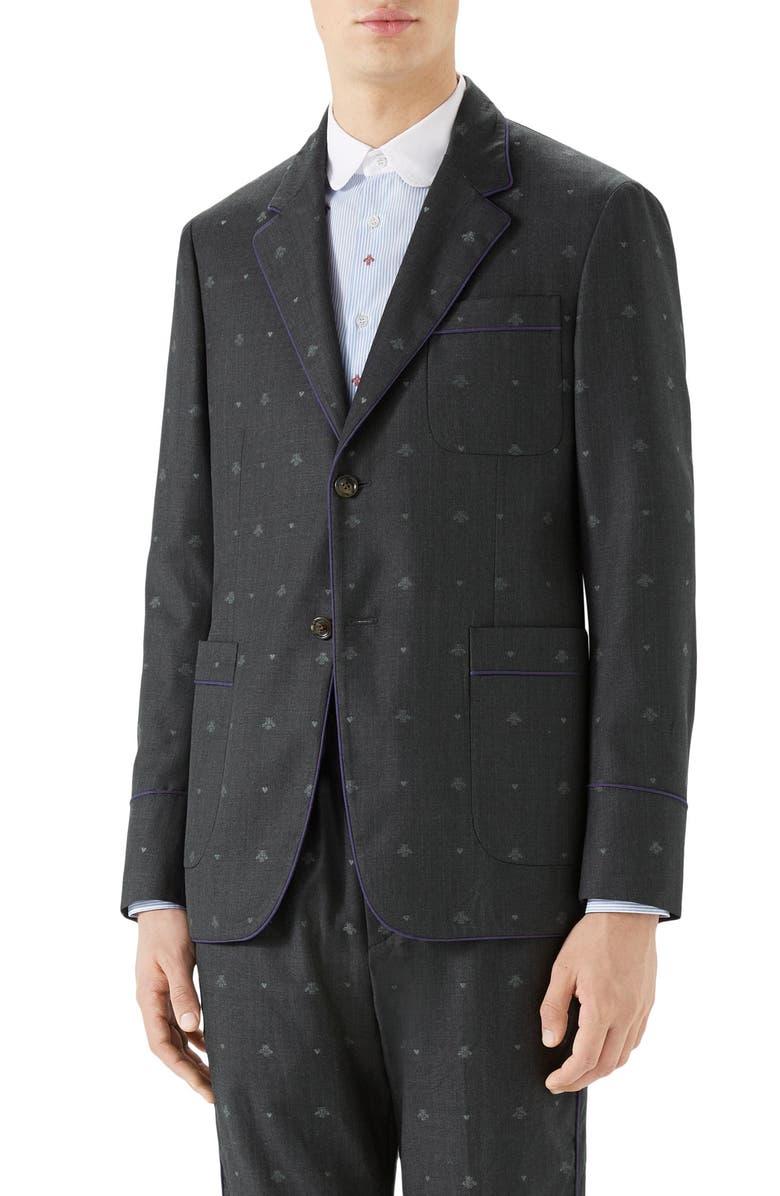 GUCCI Bee & Heart Print Wool Sport Coat, Main, color, DARK GREY