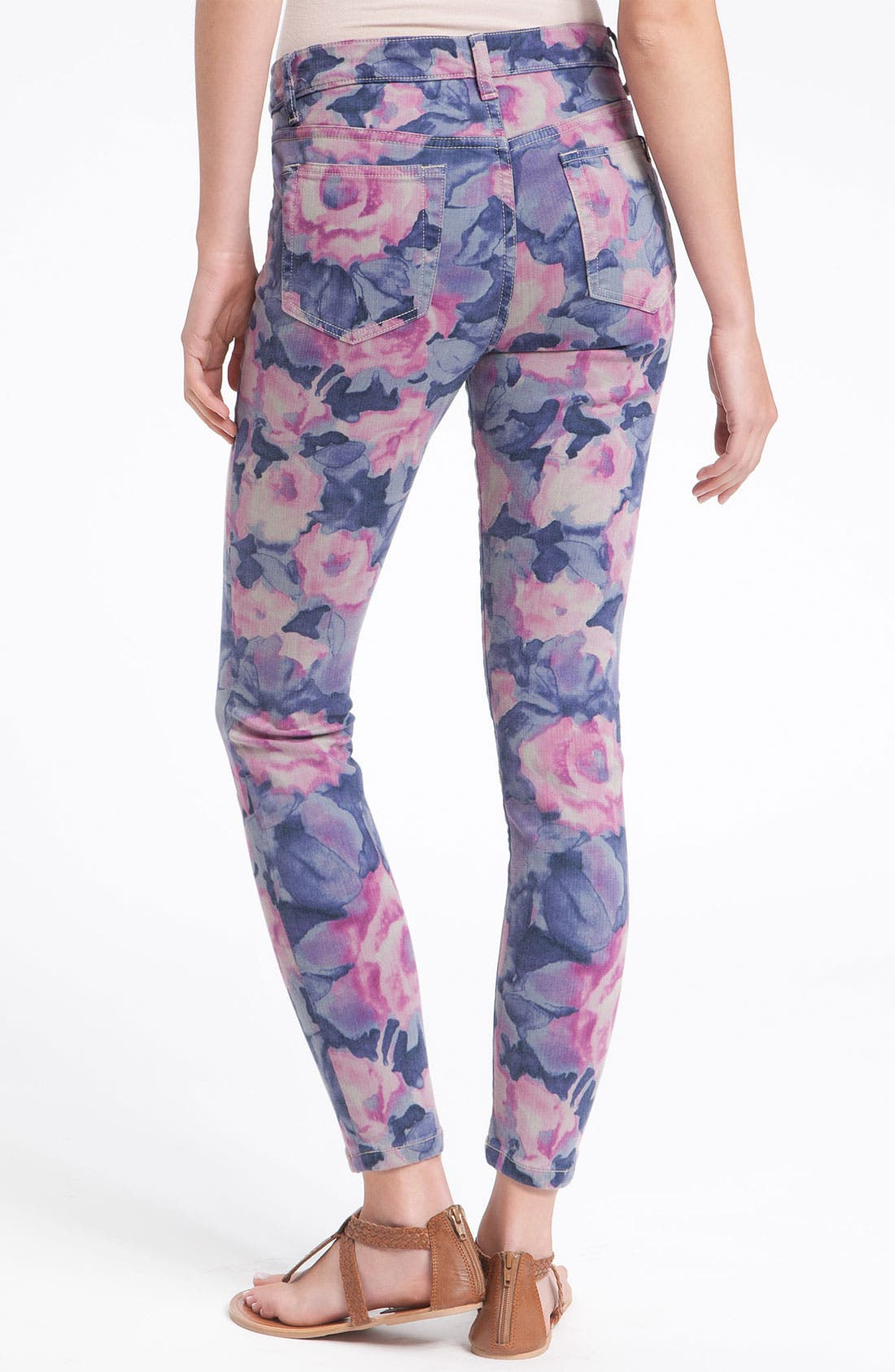 'The High Water' Print Crop Skinny Jeans,                             Main thumbnail 1, color,                             400