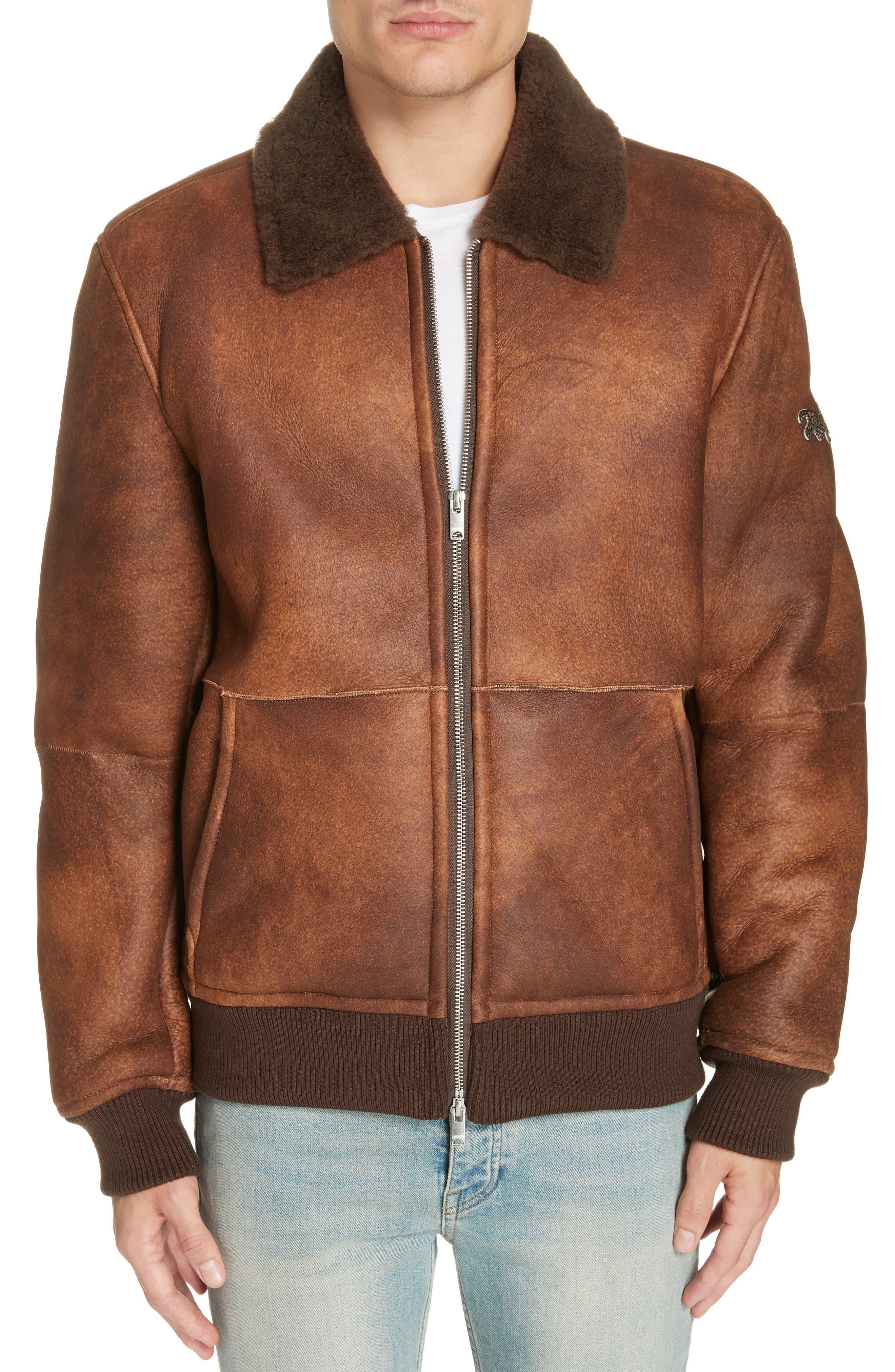 Genuine Shearling Aviator Jacket,                         Main,                         color, BROWN
