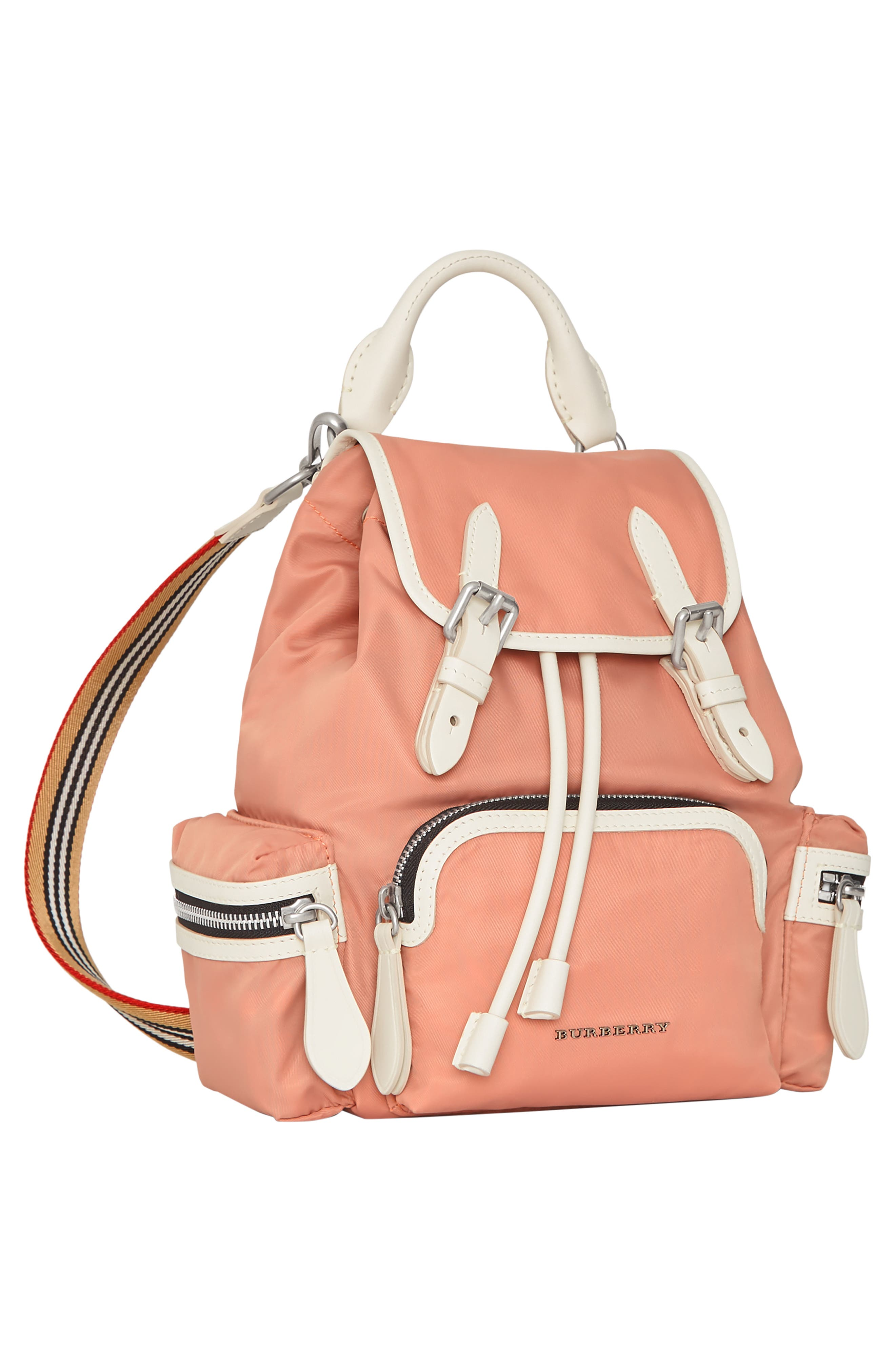 Small Rucksack Nylon Backpack,                             Alternate thumbnail 6, color,                             POWDER PINK