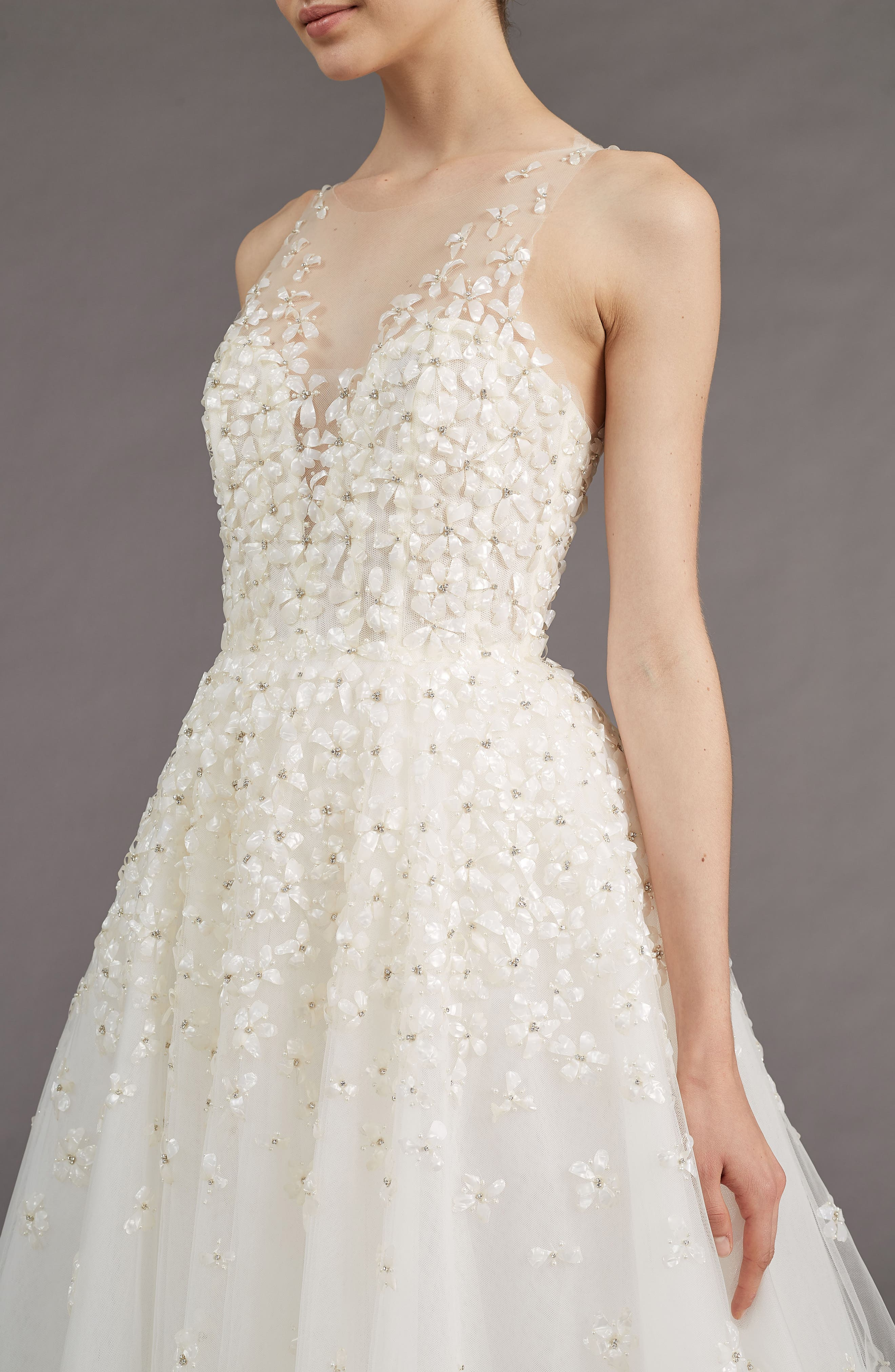 Callie Embellished A-line Gown,                             Alternate thumbnail 3, color,                             IVORY