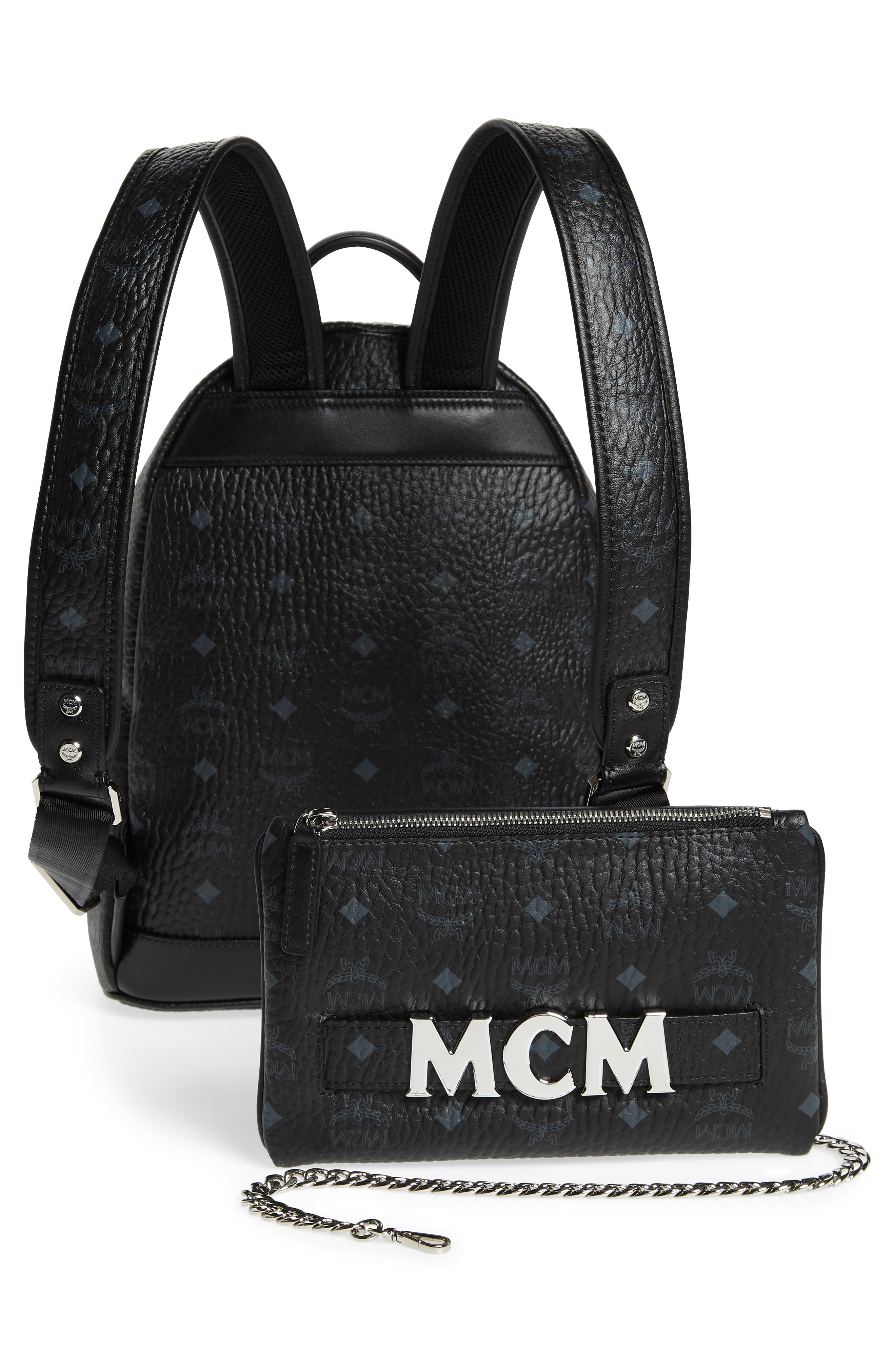 MCM,                             Small Stark Trilogie Canvas Backpack,                             Alternate thumbnail 3, color,                             001