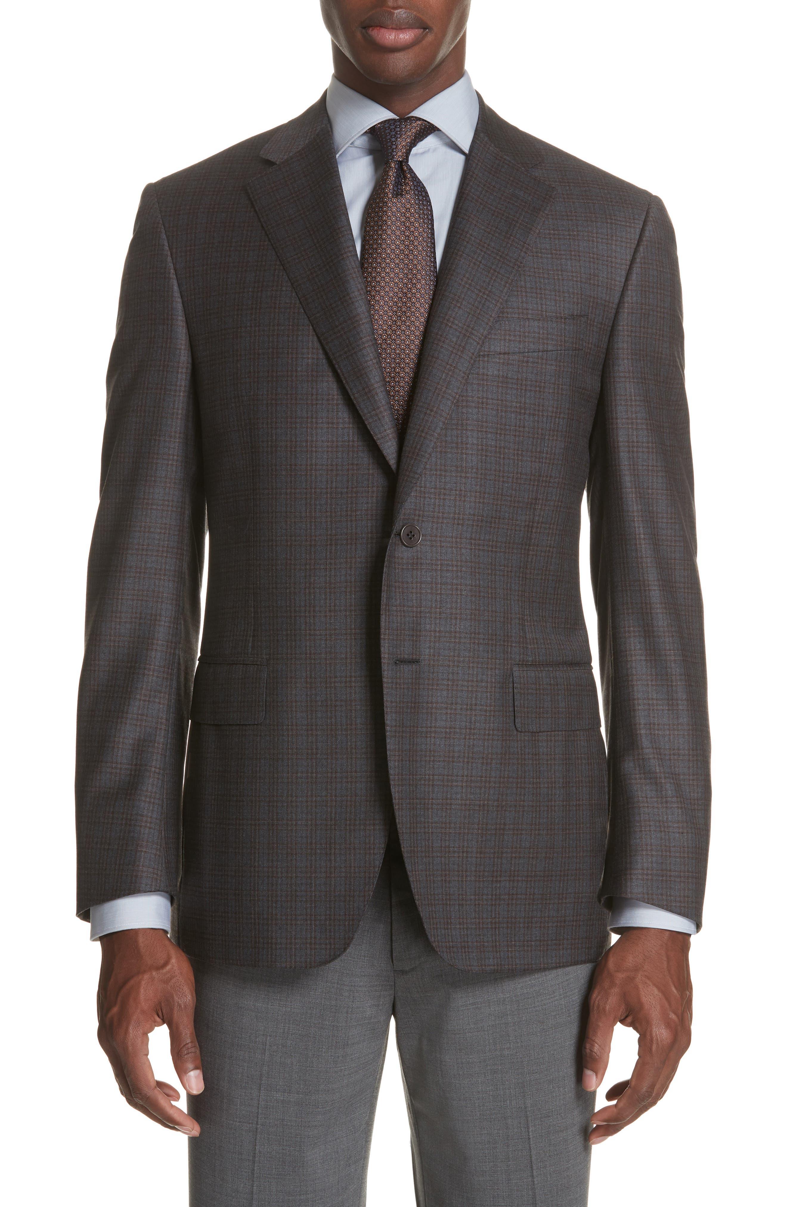 Classic Fit Plaid Wool Sport Coat,                             Main thumbnail 1, color,                             GREY/ BROWN