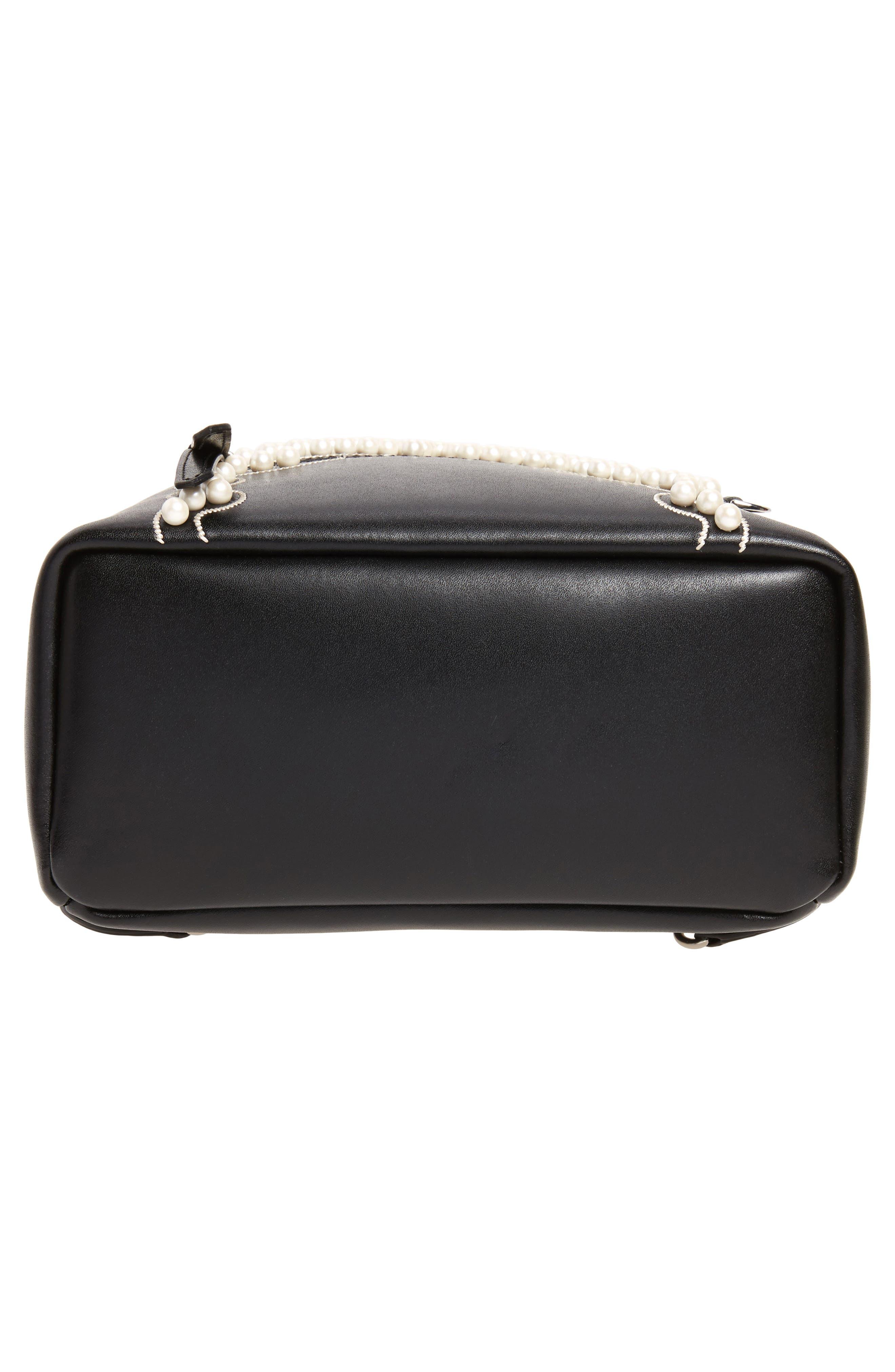 Mini Imitation Pearl Bow Leather Backpack,                             Alternate thumbnail 6, color,                             004