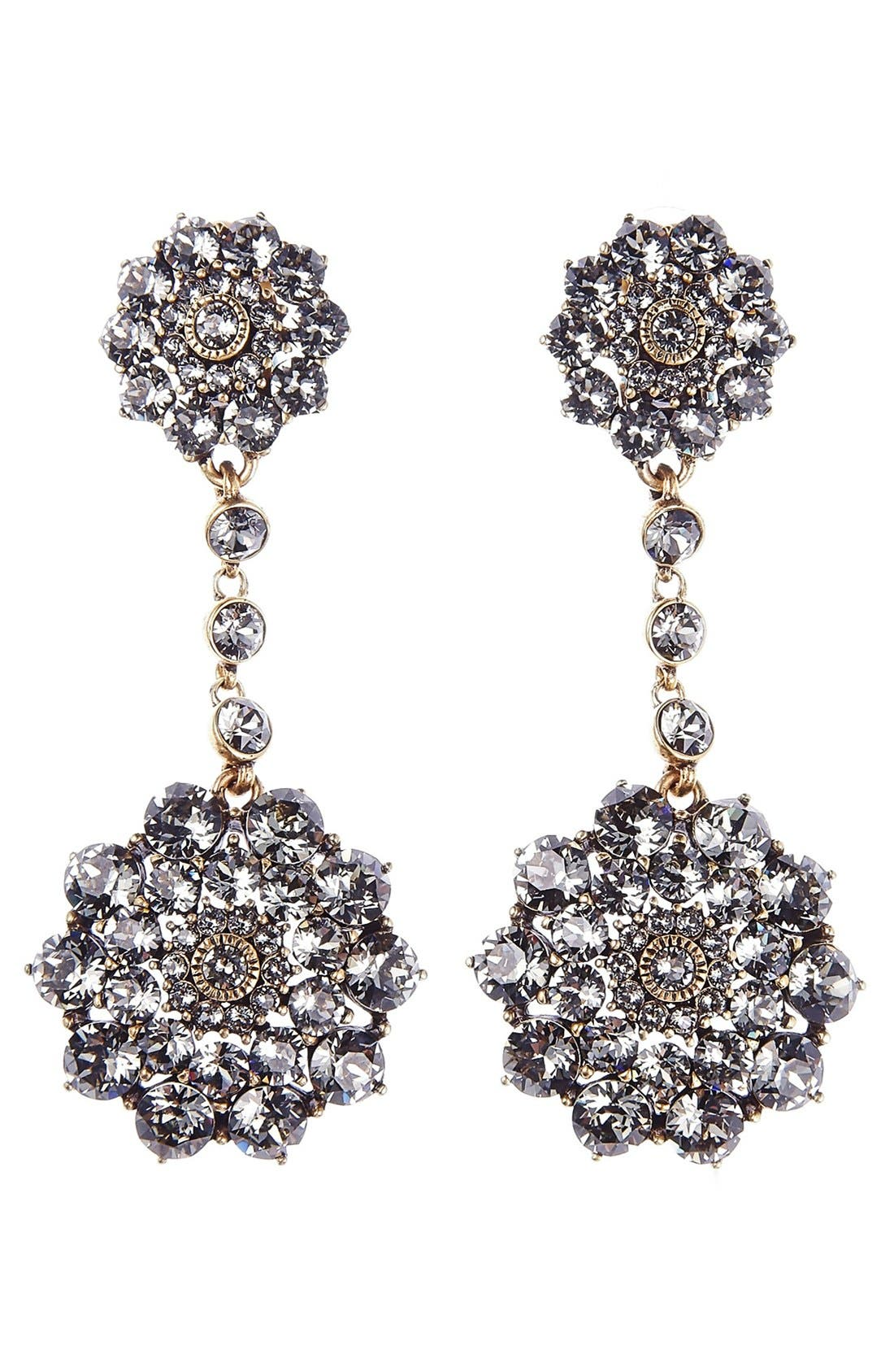 'Classic Jeweled' Swarovski Crystal Drop Earrings,                             Main thumbnail 1, color,                             BLACK