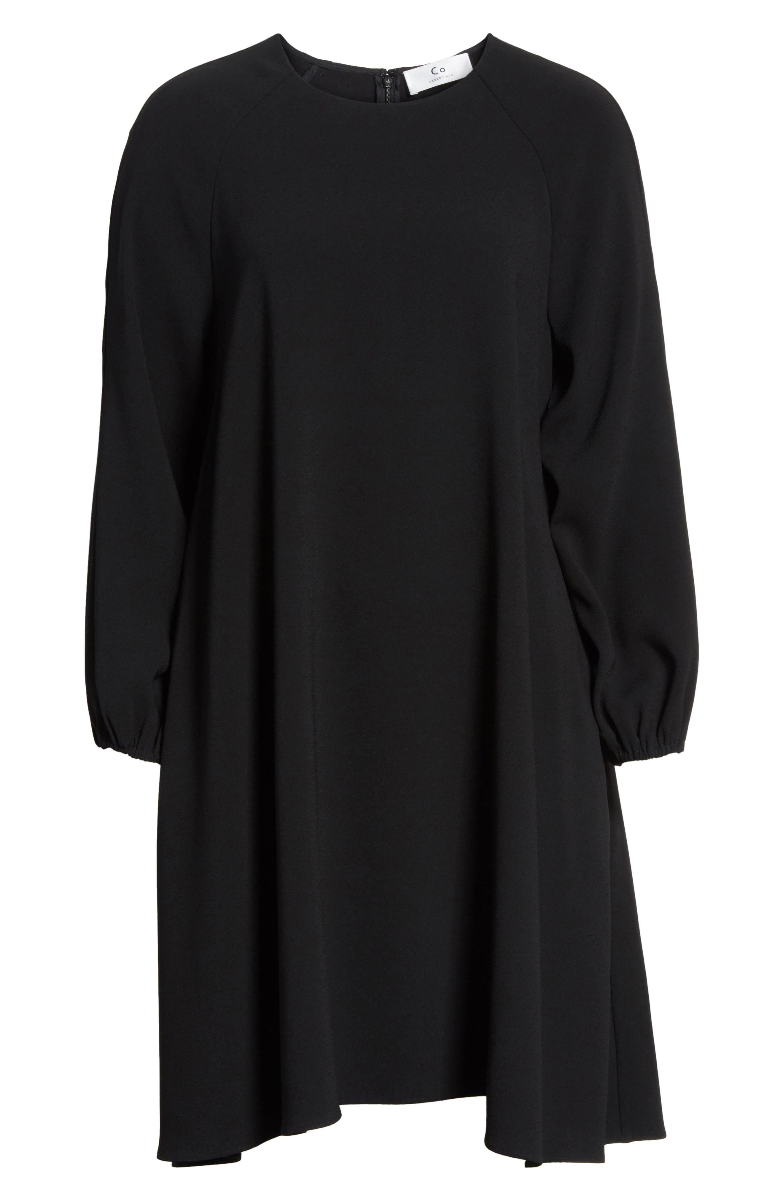Raglan Sleeve Peasant Dress,                             Alternate thumbnail 7, color,                             BLACK