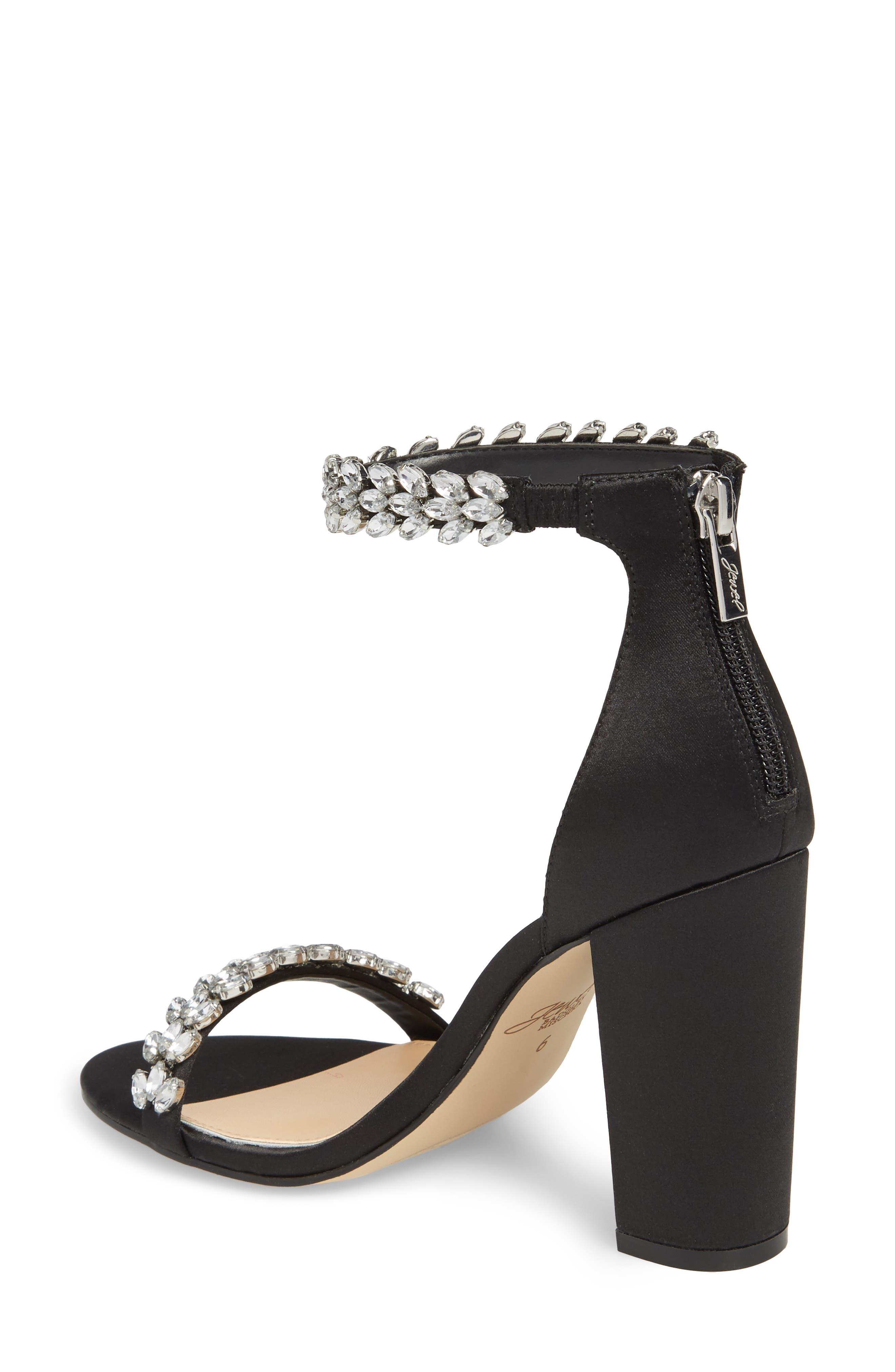 Jewel by Badgley Mischka Mayra Embellished Ankle Strap Sandal,                             Alternate thumbnail 2, color,                             BLACK SATIN