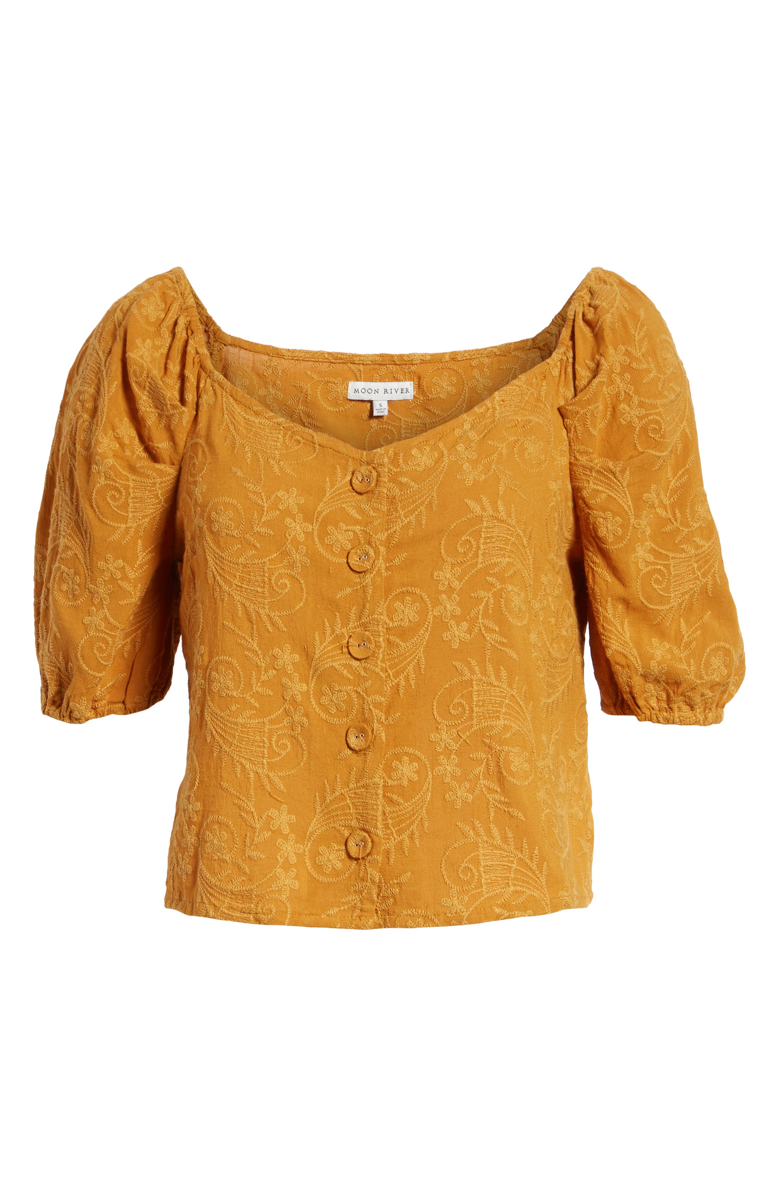 Embroidered Puff Sleeve Top,                             Alternate thumbnail 6, color,                             MAPLE