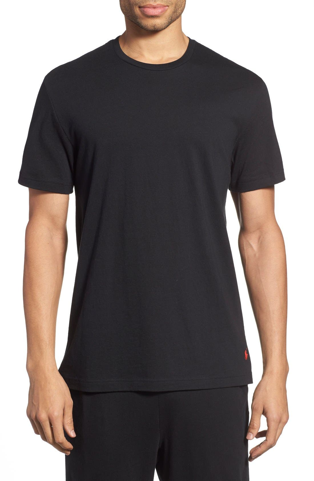 Crewneck T-Shirt,                         Main,                         color, BLACK