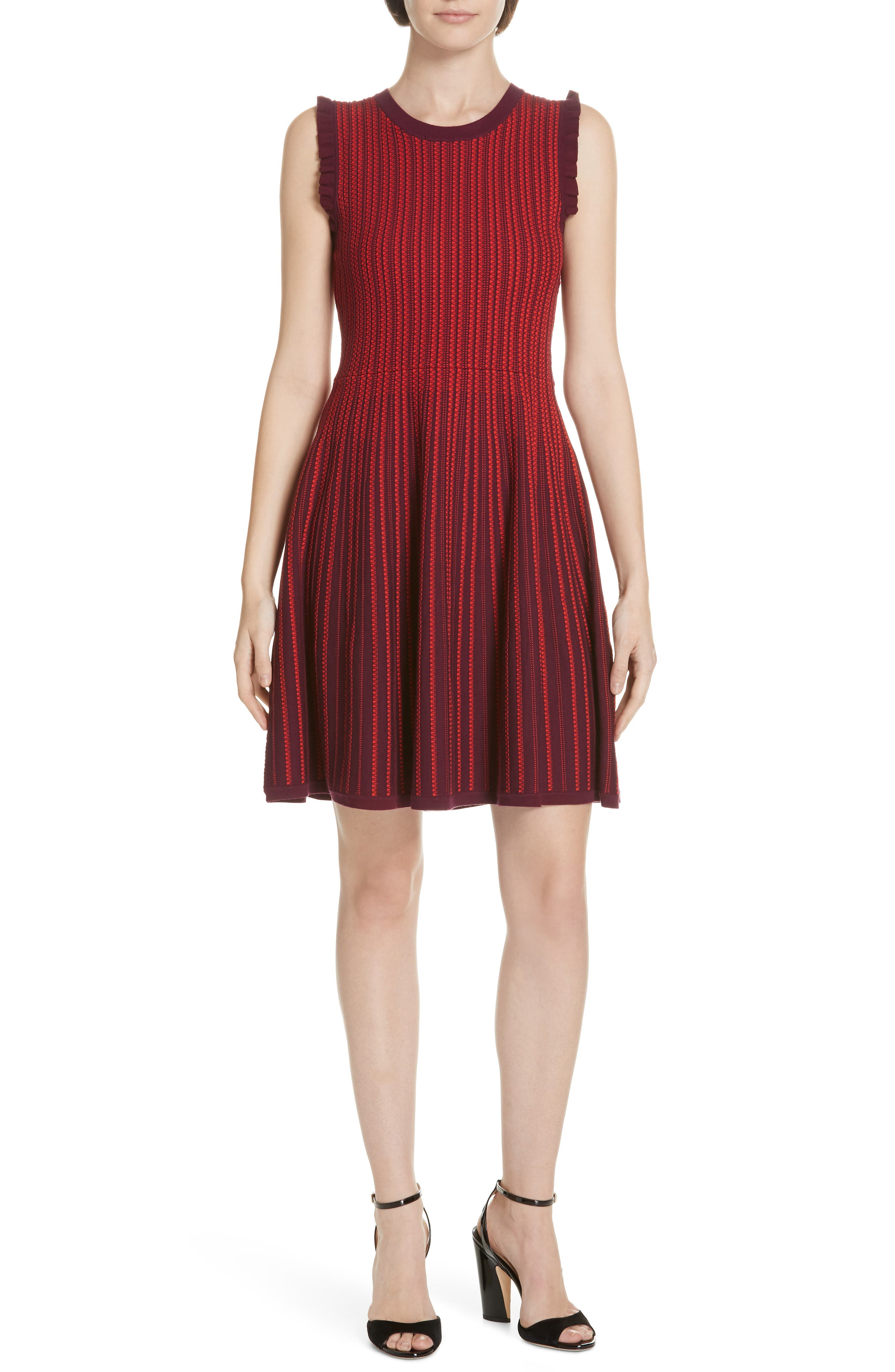 Kate Spade New York Knit Fit & Flare Dress, Red