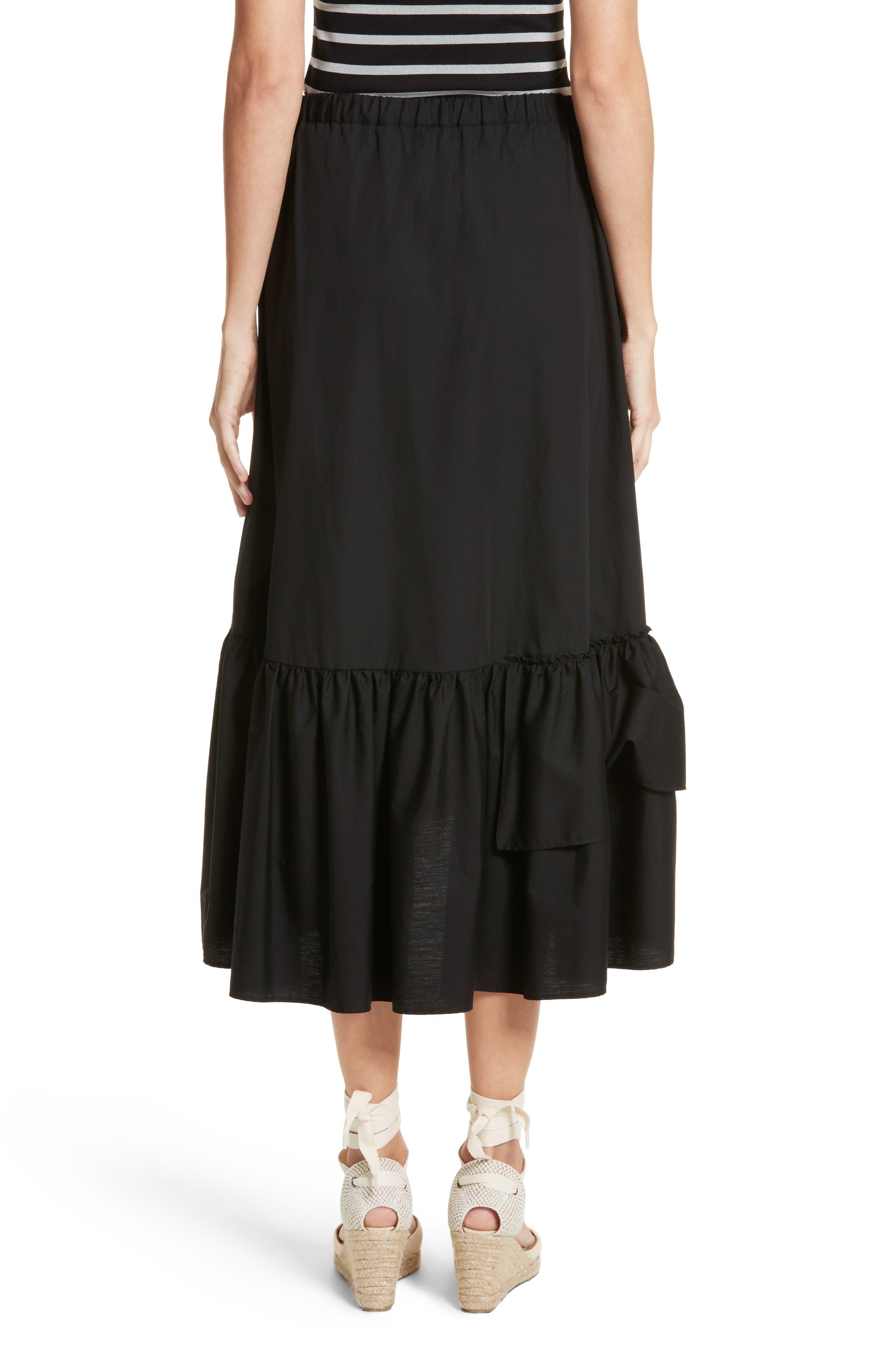 FUZZI,                             Ruffled Poplin Skirt,                             Alternate thumbnail 2, color,                             001