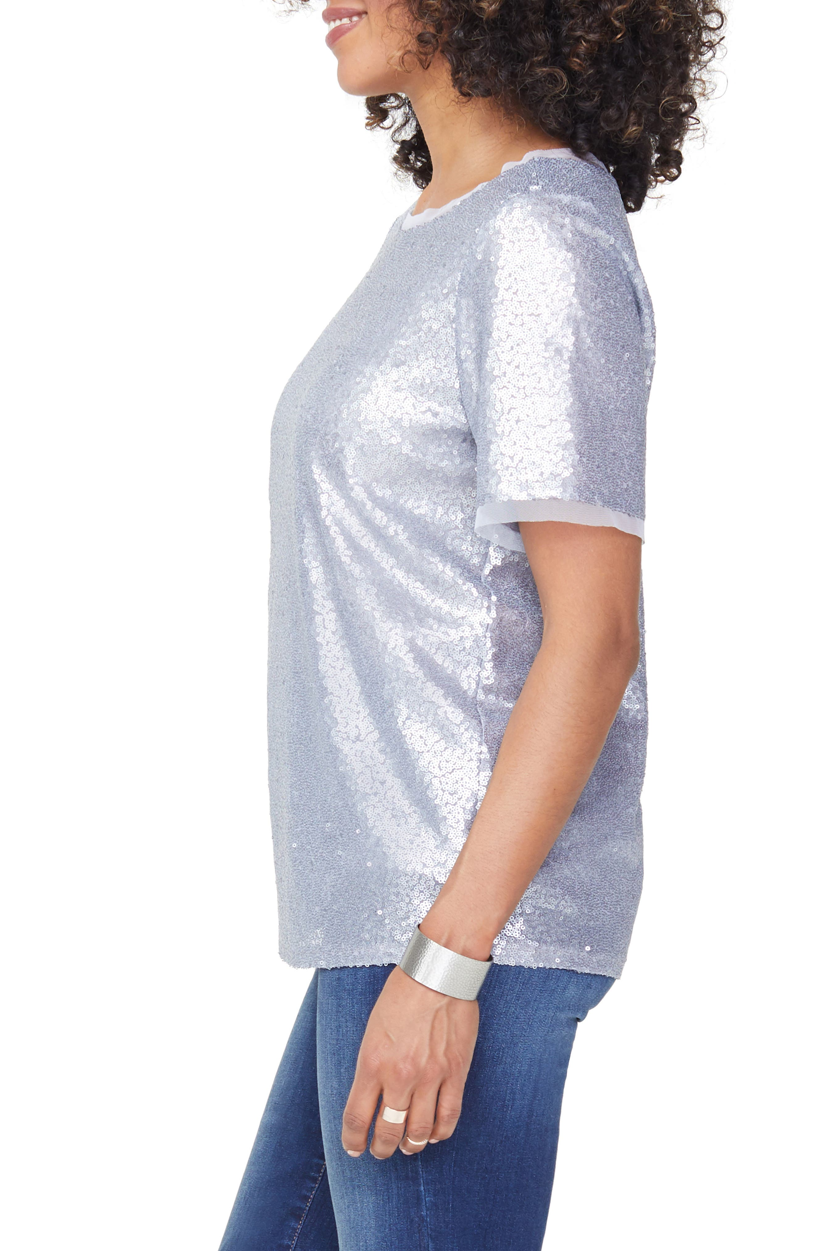 Sequin Woven Top,                             Alternate thumbnail 3, color,                             041